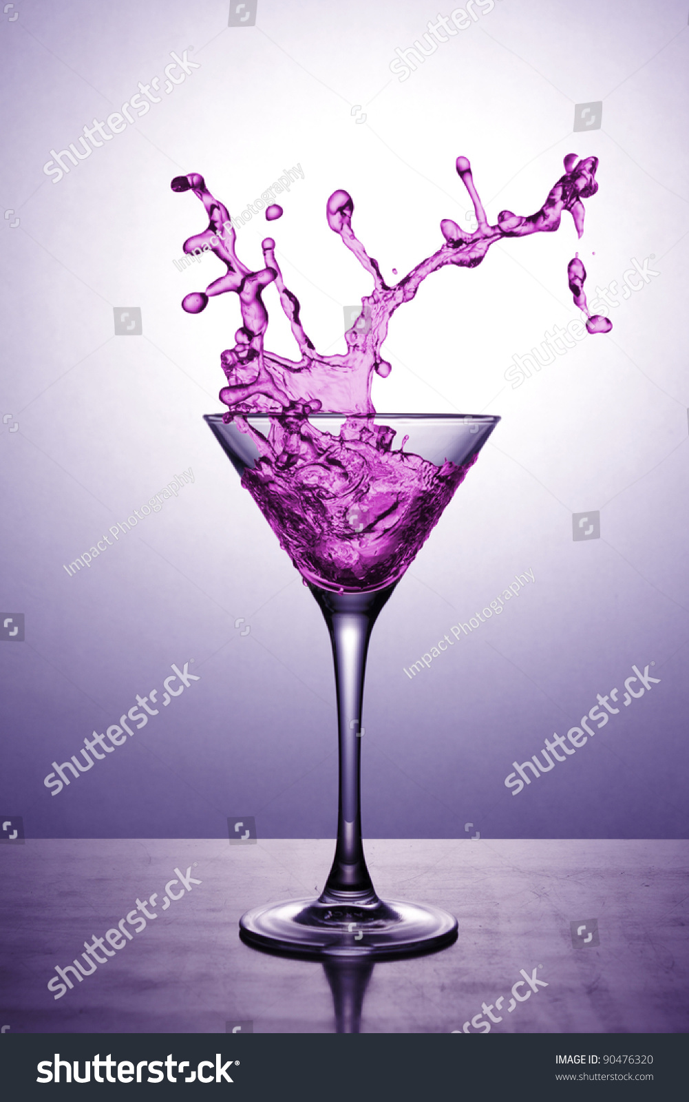 Martini Glass Pink Cocktail On Pink Stock Photo 90476320