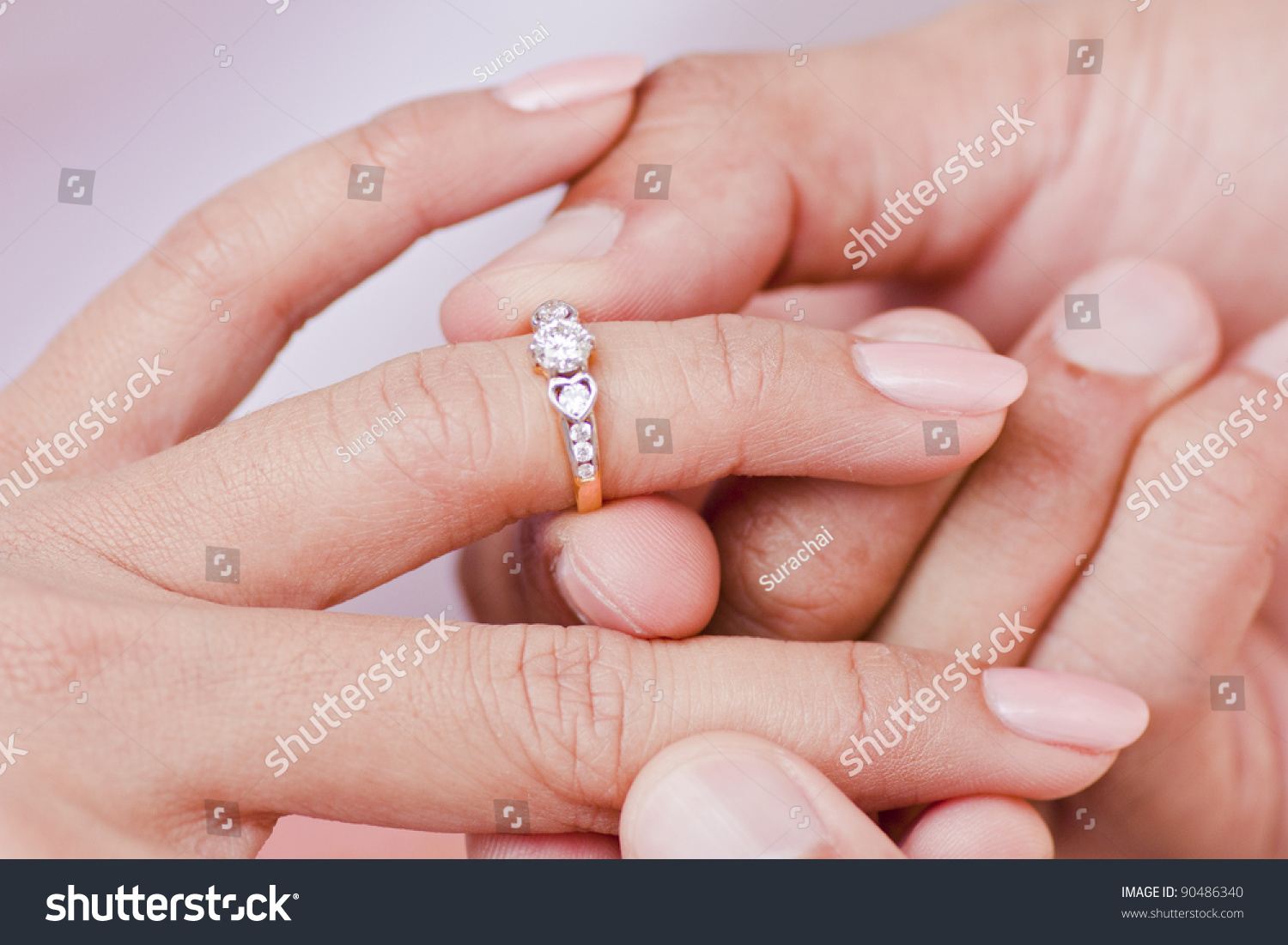 Male Hand Wear Diamond Ring Female Stock Photo (Edit Now) 90486340 ...