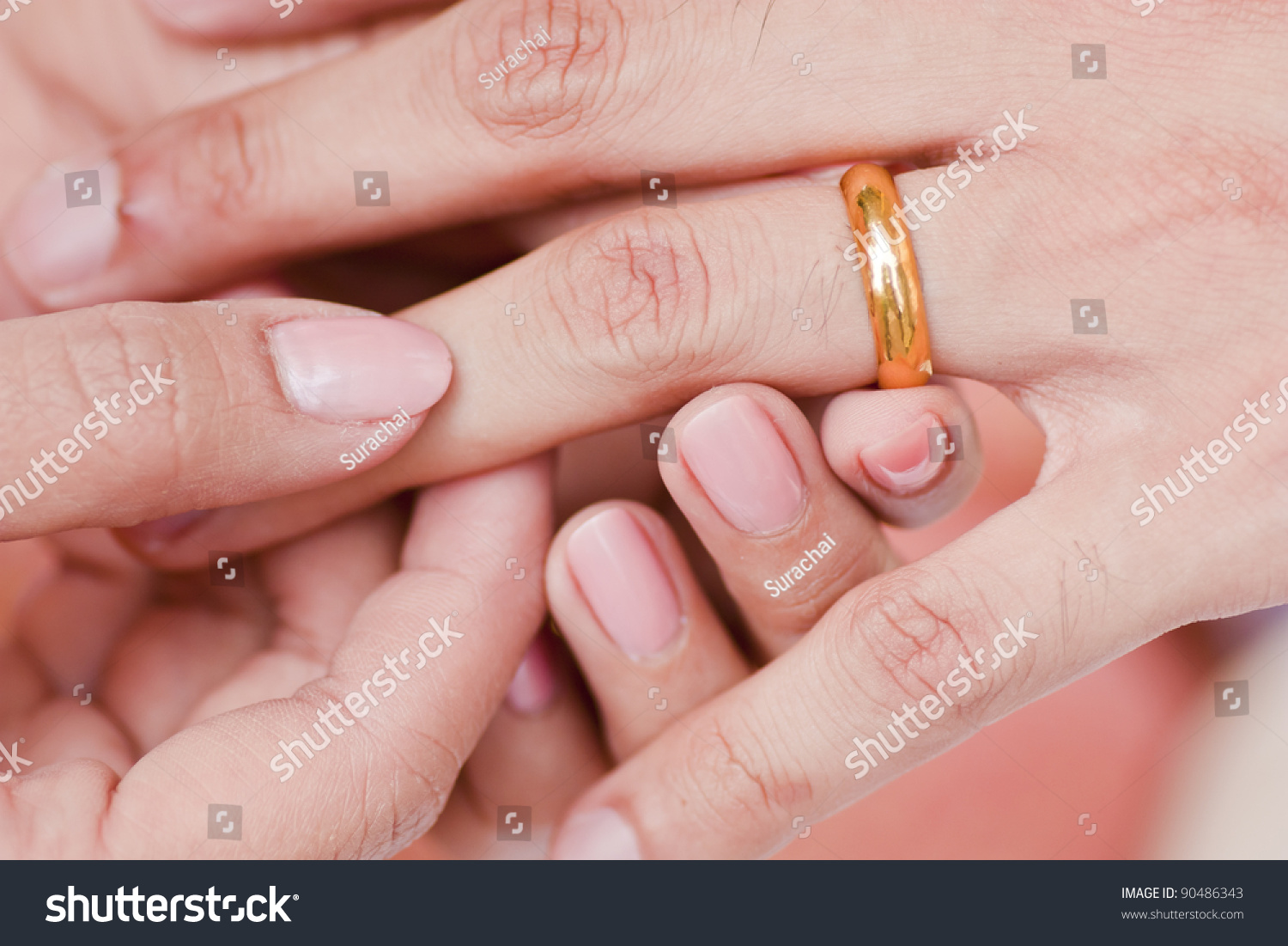 Female Hand Wear Golden Ring Male Stock Photo (Edit Now) 90486343 ...