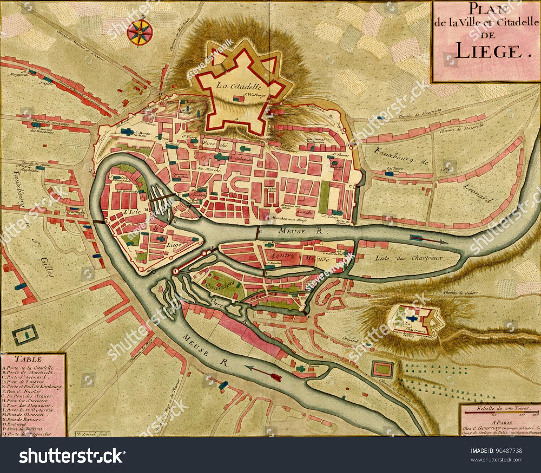 Antique Map Town Citadel Liege Atlas Stock Photo (Edit Now) 90487738 on