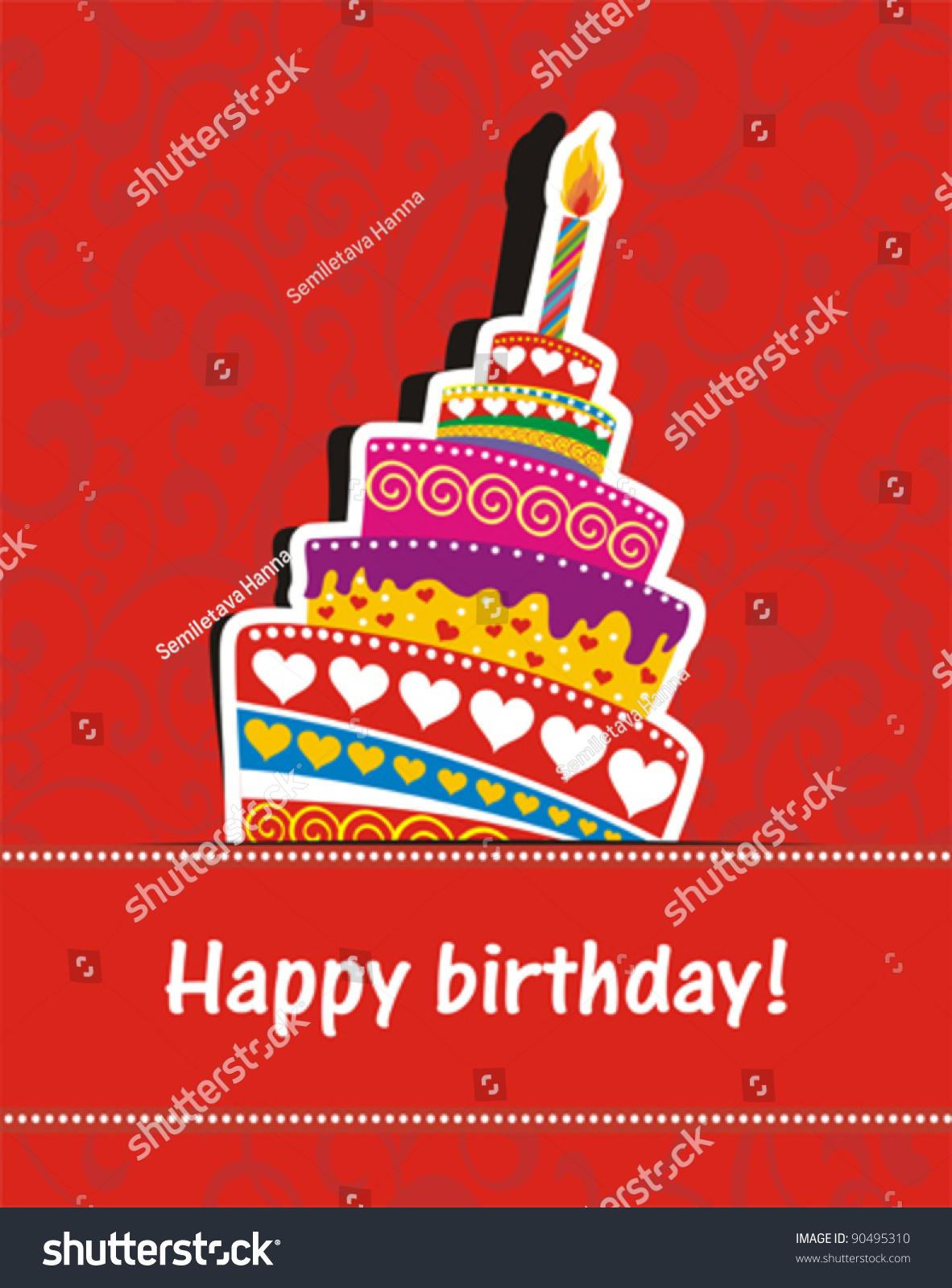 vector happy birthday card birthday cake stock vector, Birthday card