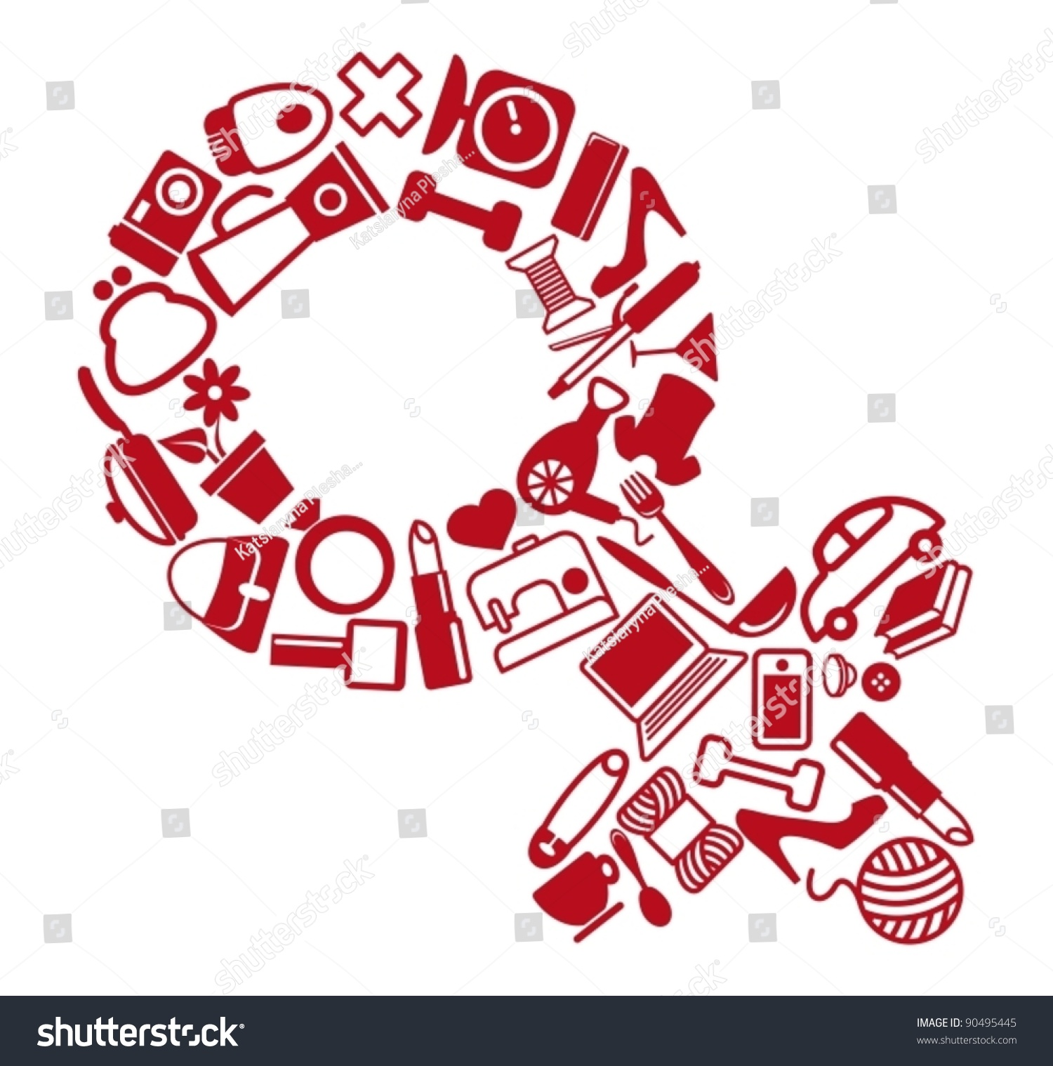 Female Gender Symbol Stock Vector 90495445 Shutterstock