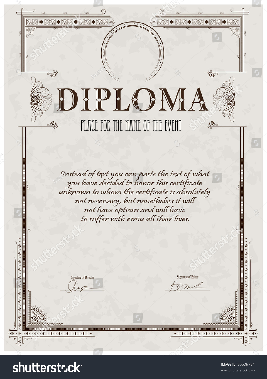 Vintage frame certificate or diploma template stock for Certificate frame template