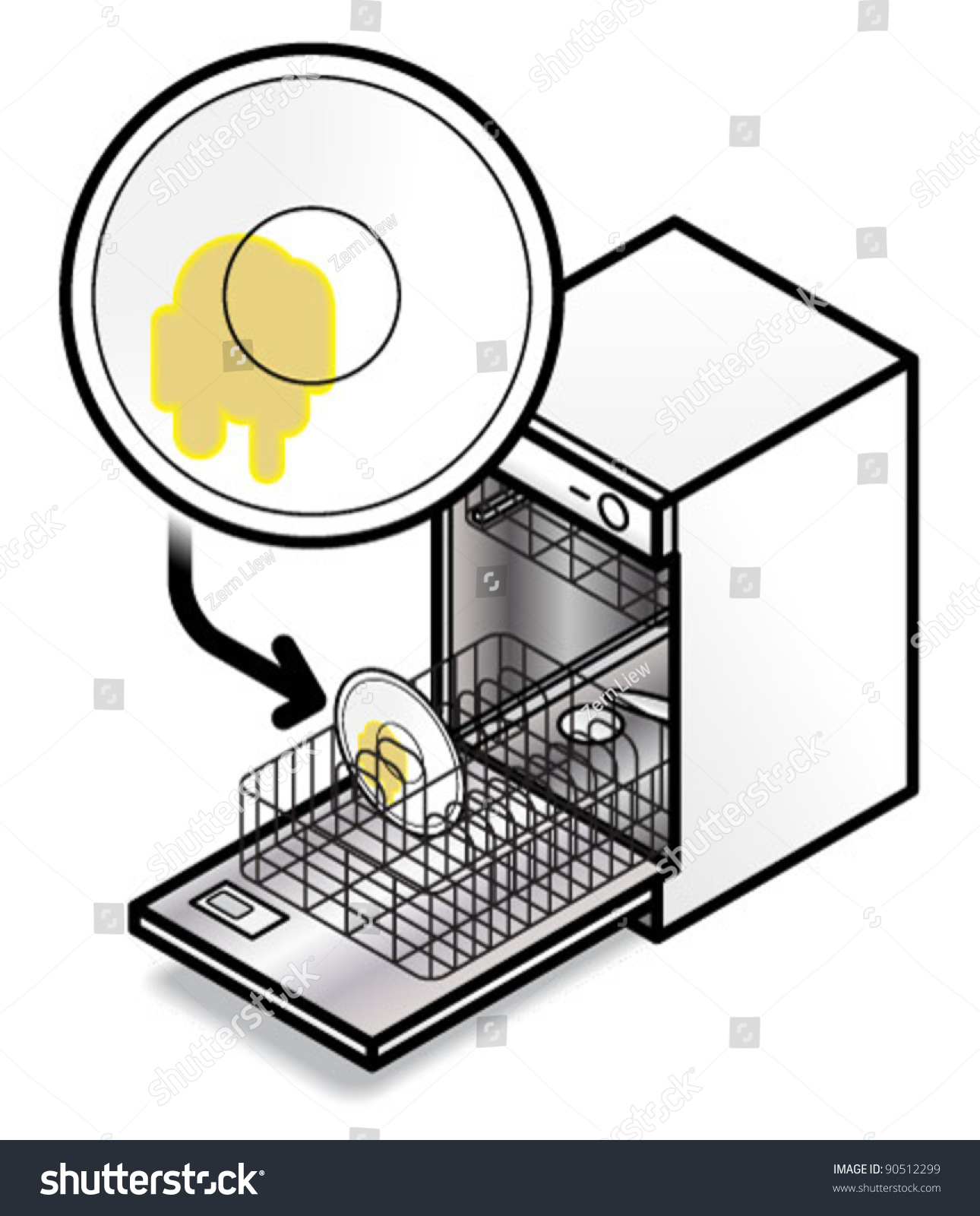 Dishwasher Clip Art ~ Please put dirty dishes dishwasher perfect stock vector