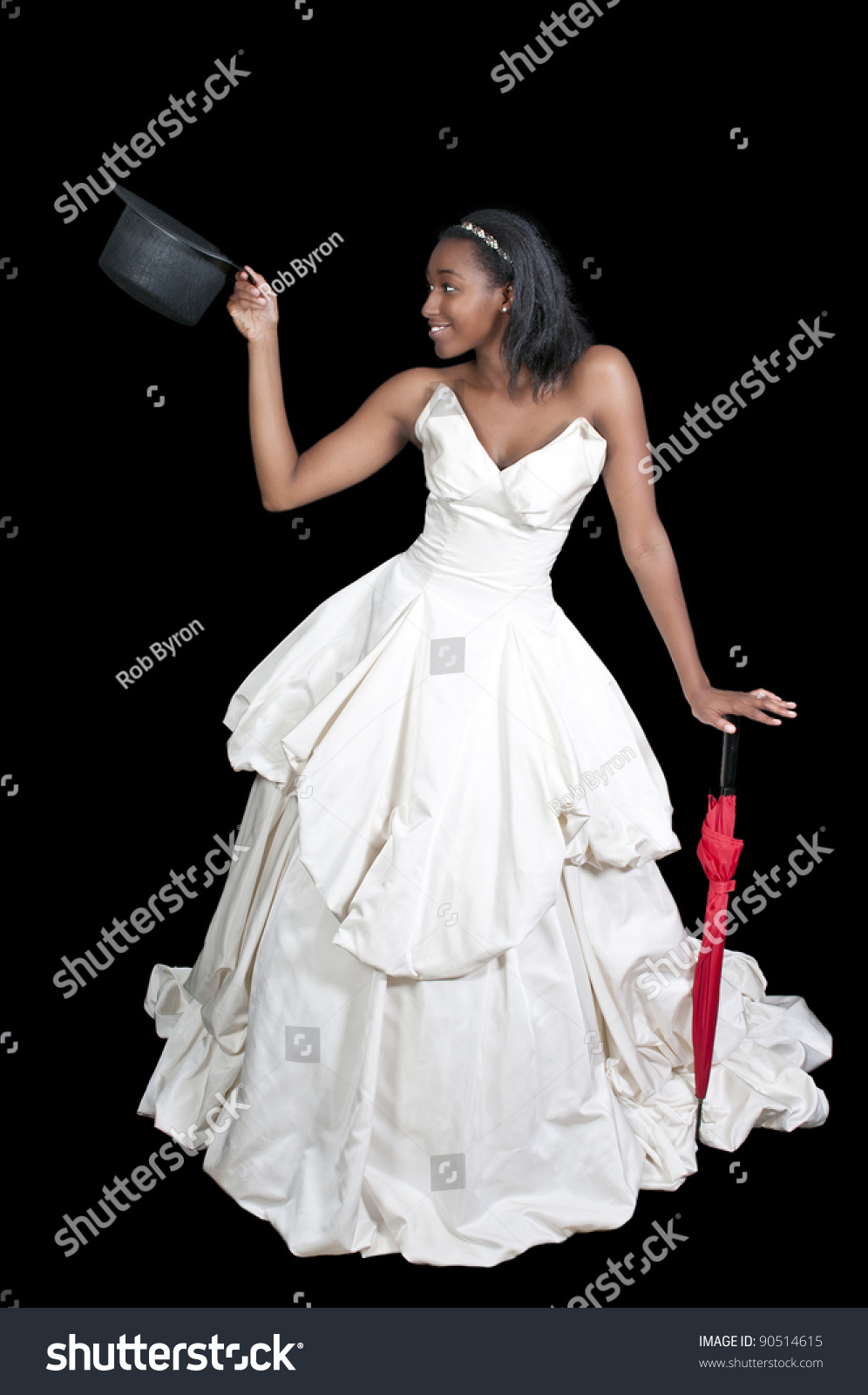 Black African American Woman Bride in a wedding dress in a top hat with an  umbrella b62611a5579