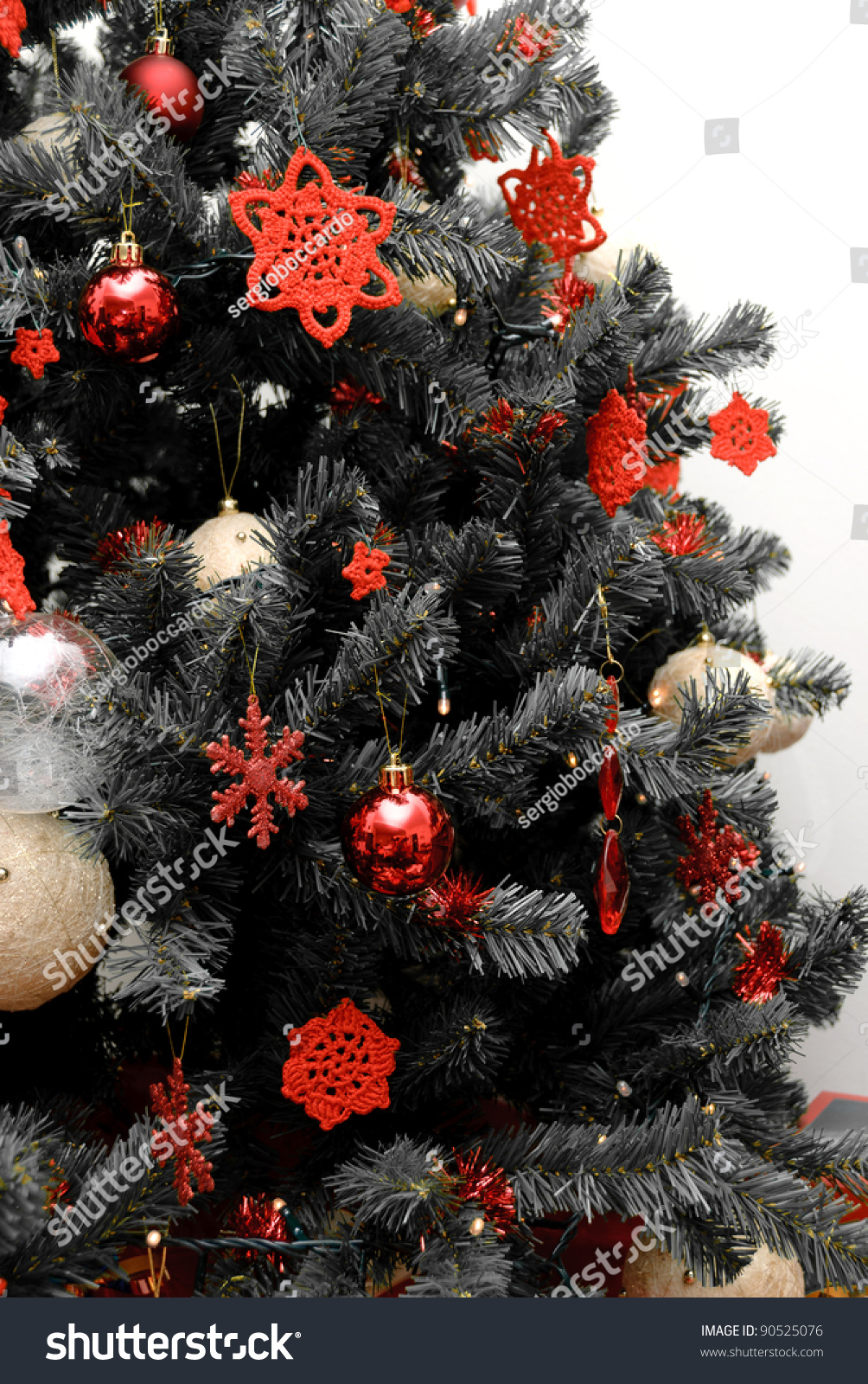 christmas tree in black and white with red decorations