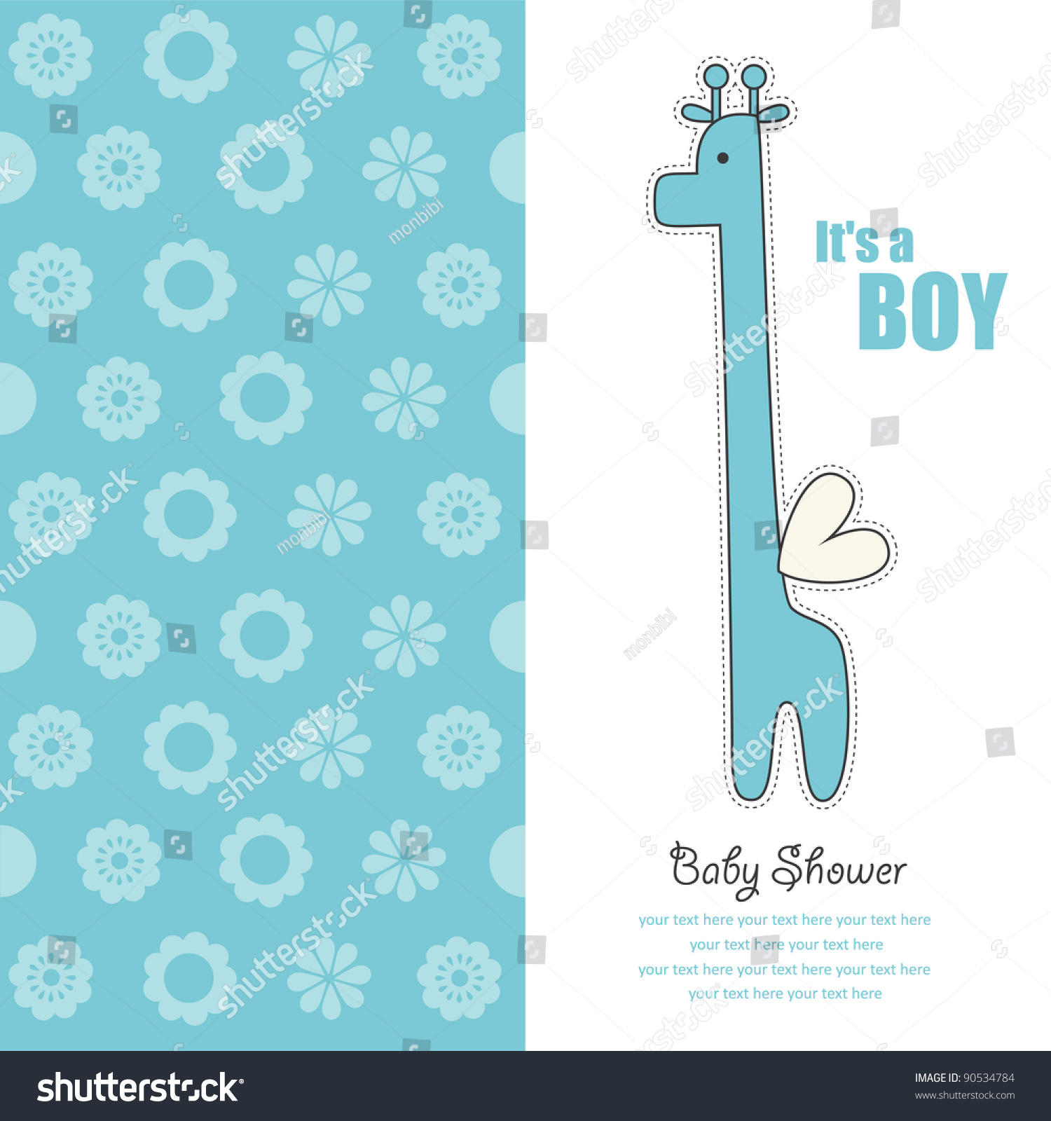Baby Boy Announcement Card Cute Giraffe Vector 90534784 – Cute Baby Boy Announcements