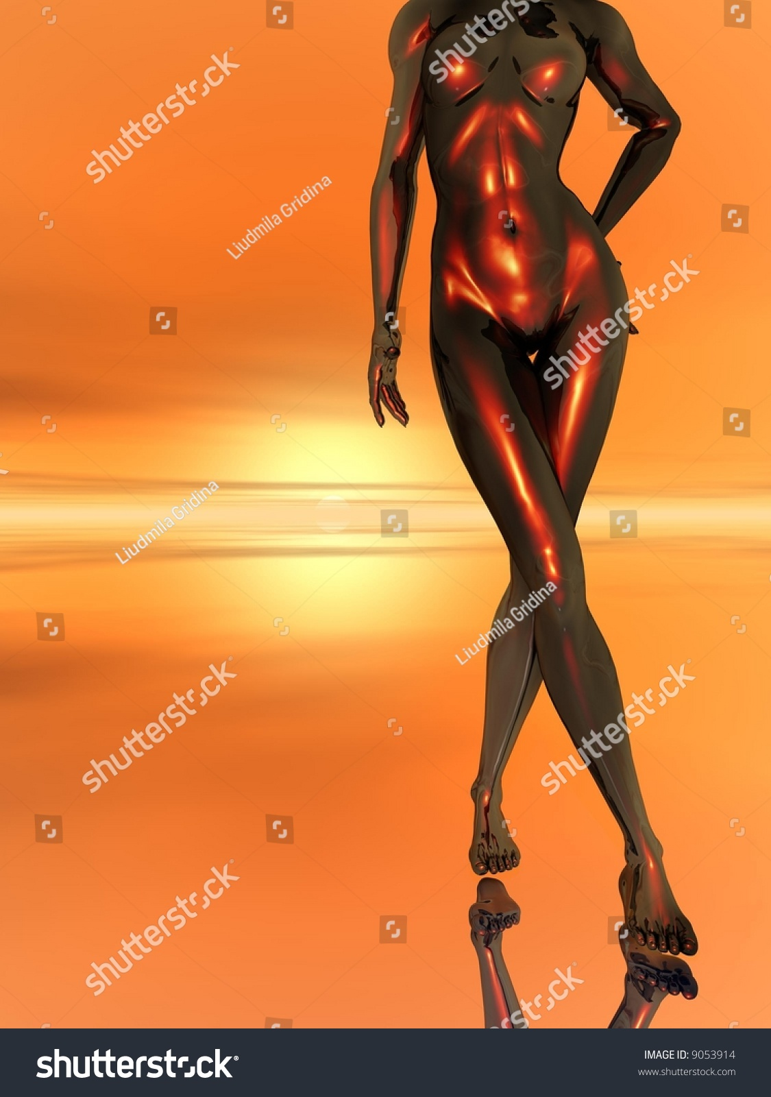 Abstract Naked Women Body 3d Scene