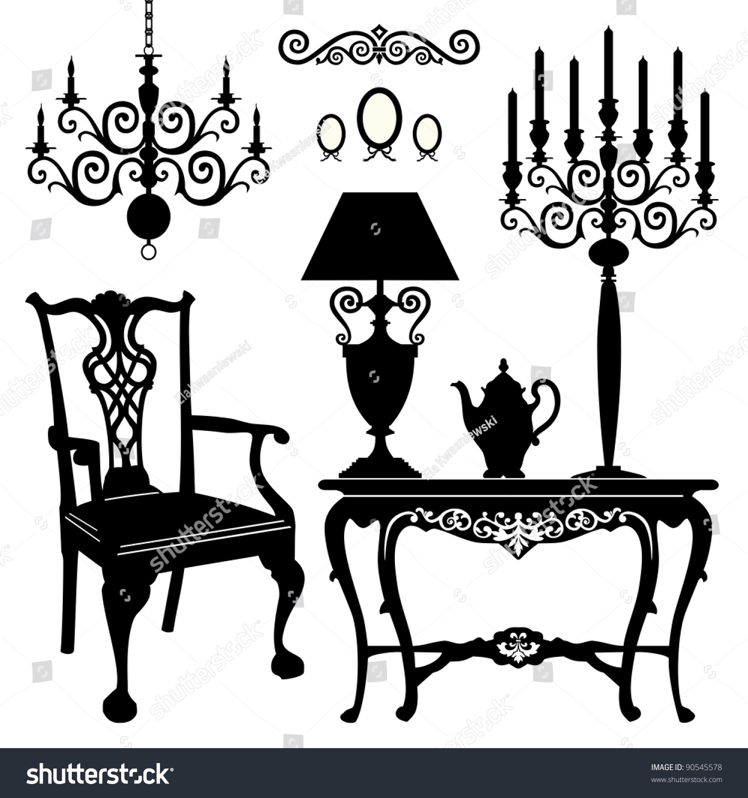 Antique chair silhouette - Antique Decorative Furniture Collection Black Silhouettes Of Furniture For Your Design Vector Illustration
