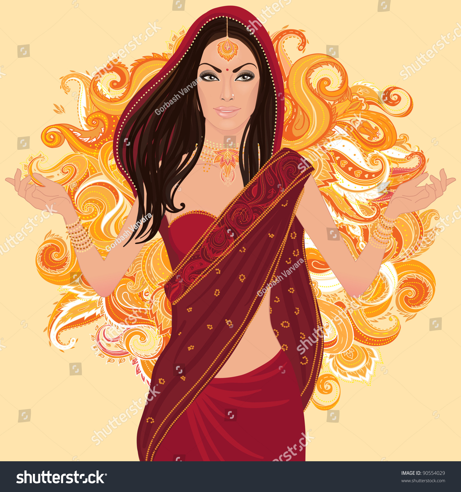 Beautiful Indian Brunette Young Woman Colorful Stock Vector 90554029 Shutterstock