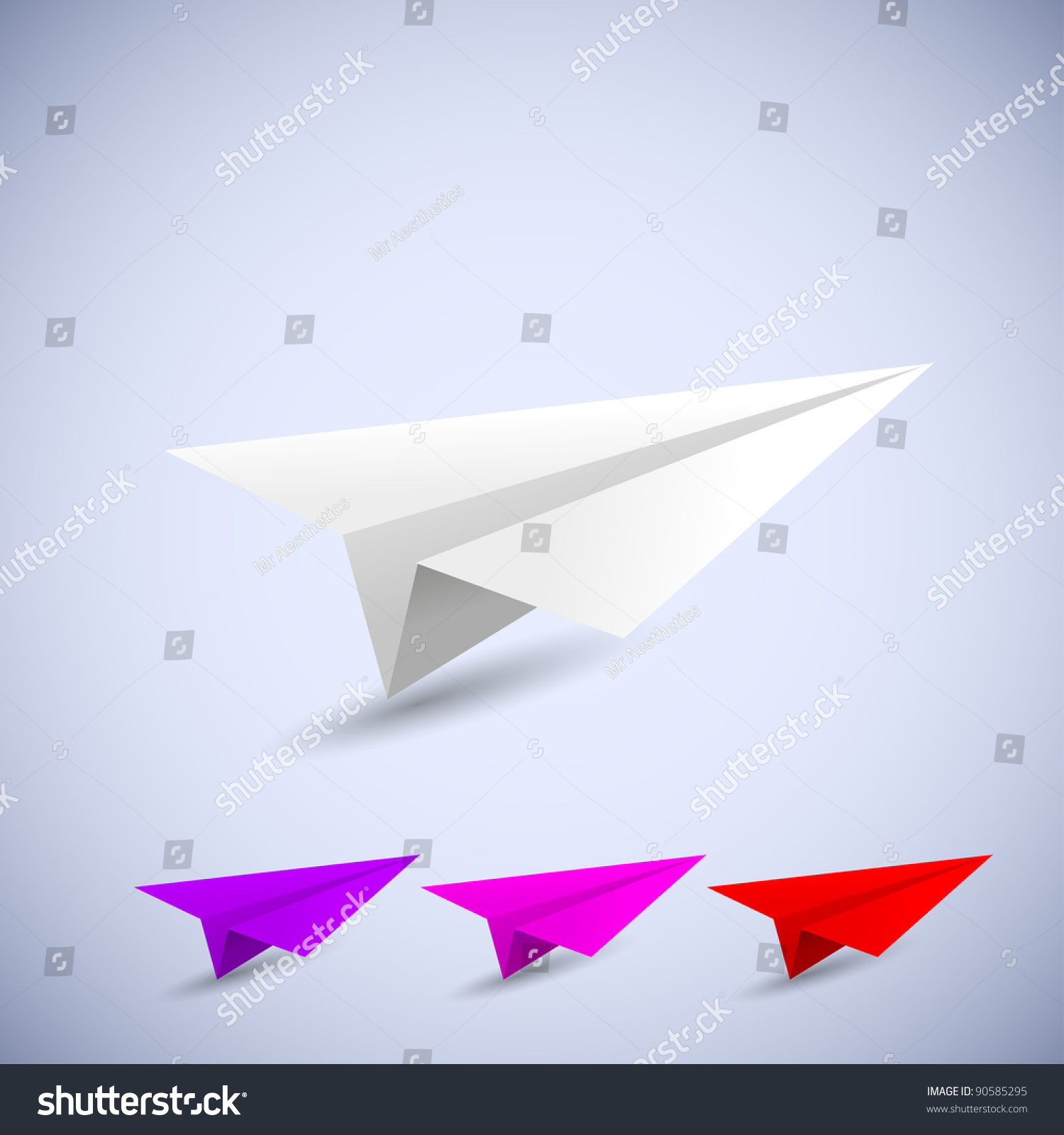 Origami Airplane Set. Vector Illustration - 90585295 ...