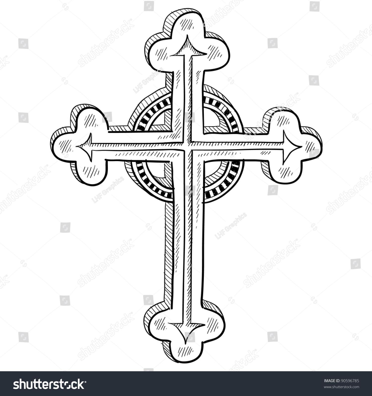 Doodle Style Greek Orthodox Cross Illustration Stock Vector Royalty