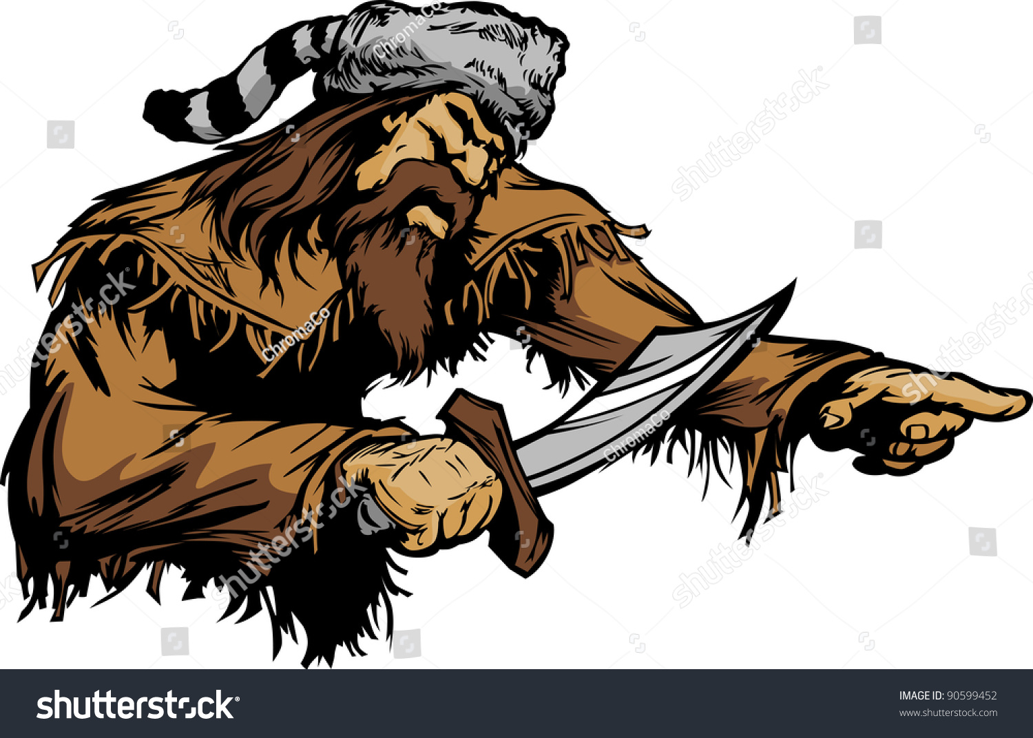 Frontiersman Pioneer Vector Mascot Holding A Bowie Knife ...