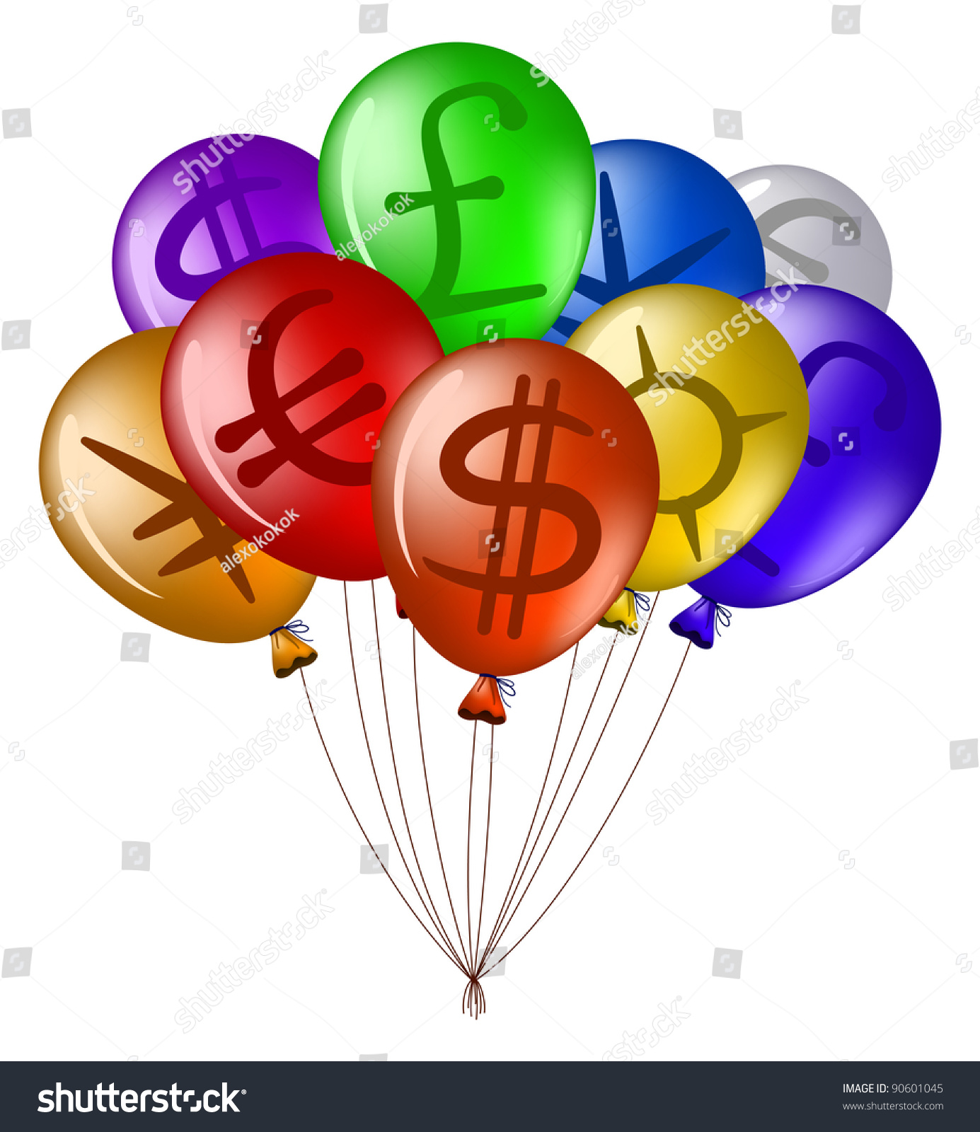 Colorful flying balloons symbols foreign currency stock vector colorful flying balloons with symbols of foreign currency vector buycottarizona