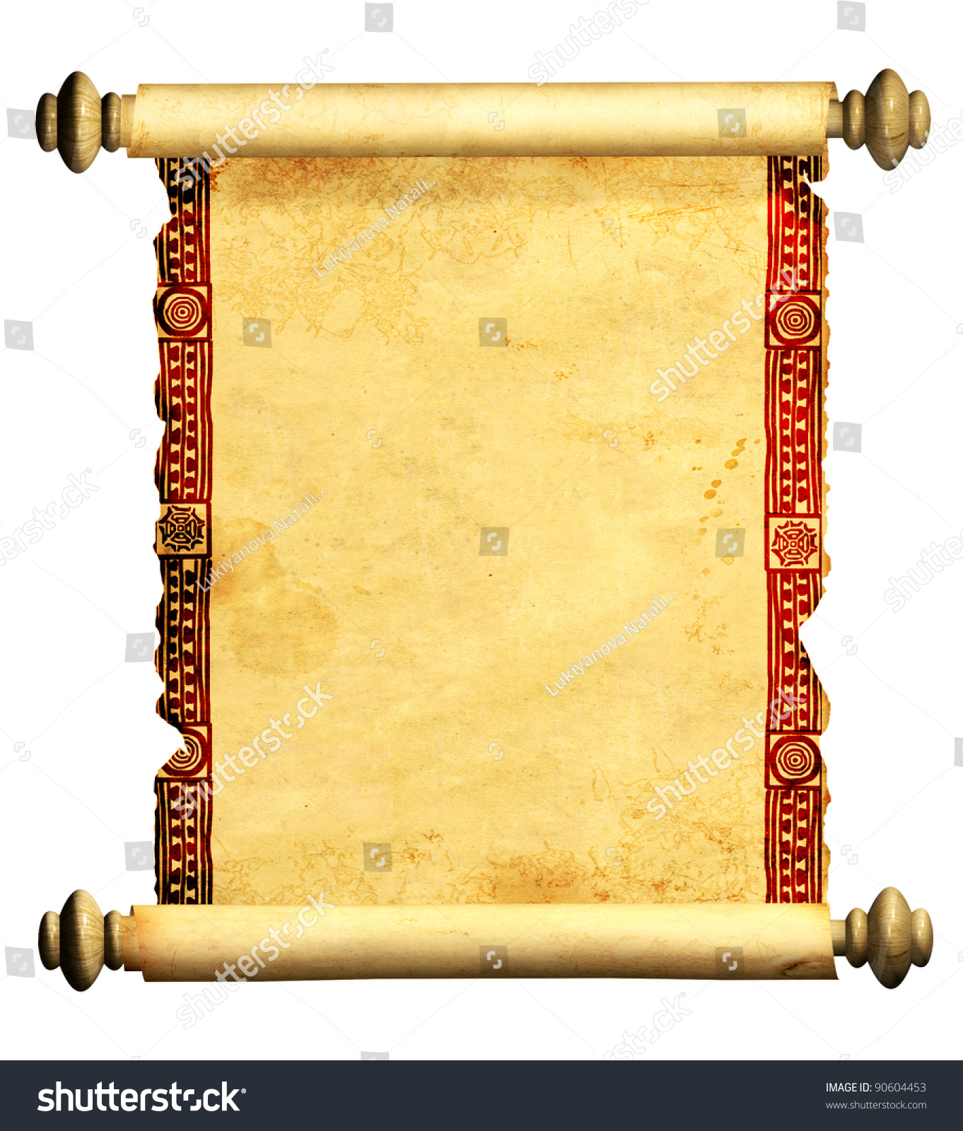 Scroll Old Parchment Object Isolated Over Stock ...