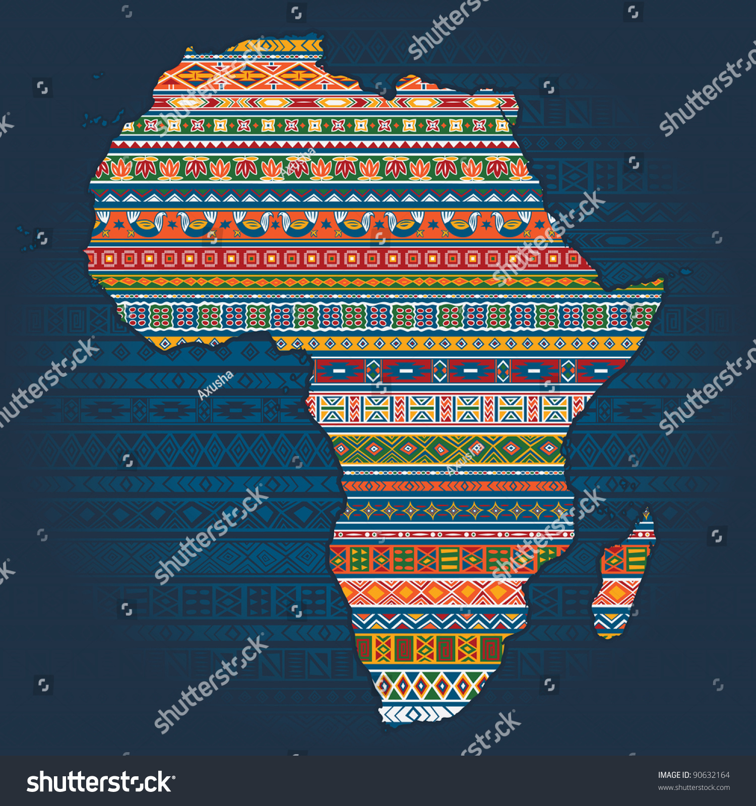 Ethnic National: Contour Of Country With Ethnic African Elements In