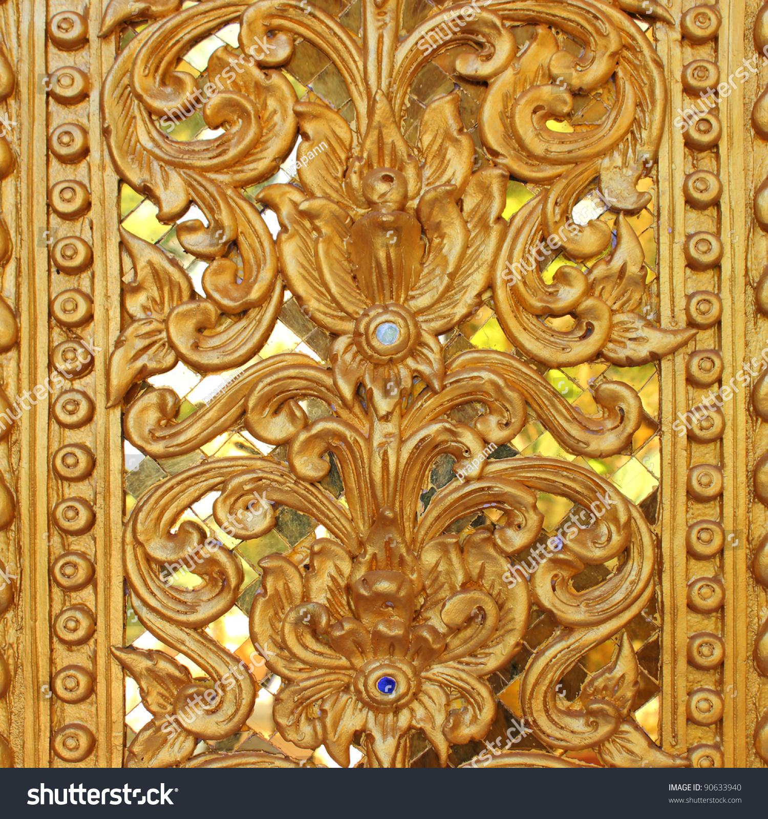 Golden Thai Pattern Design On Temple Stock Photo 90633940