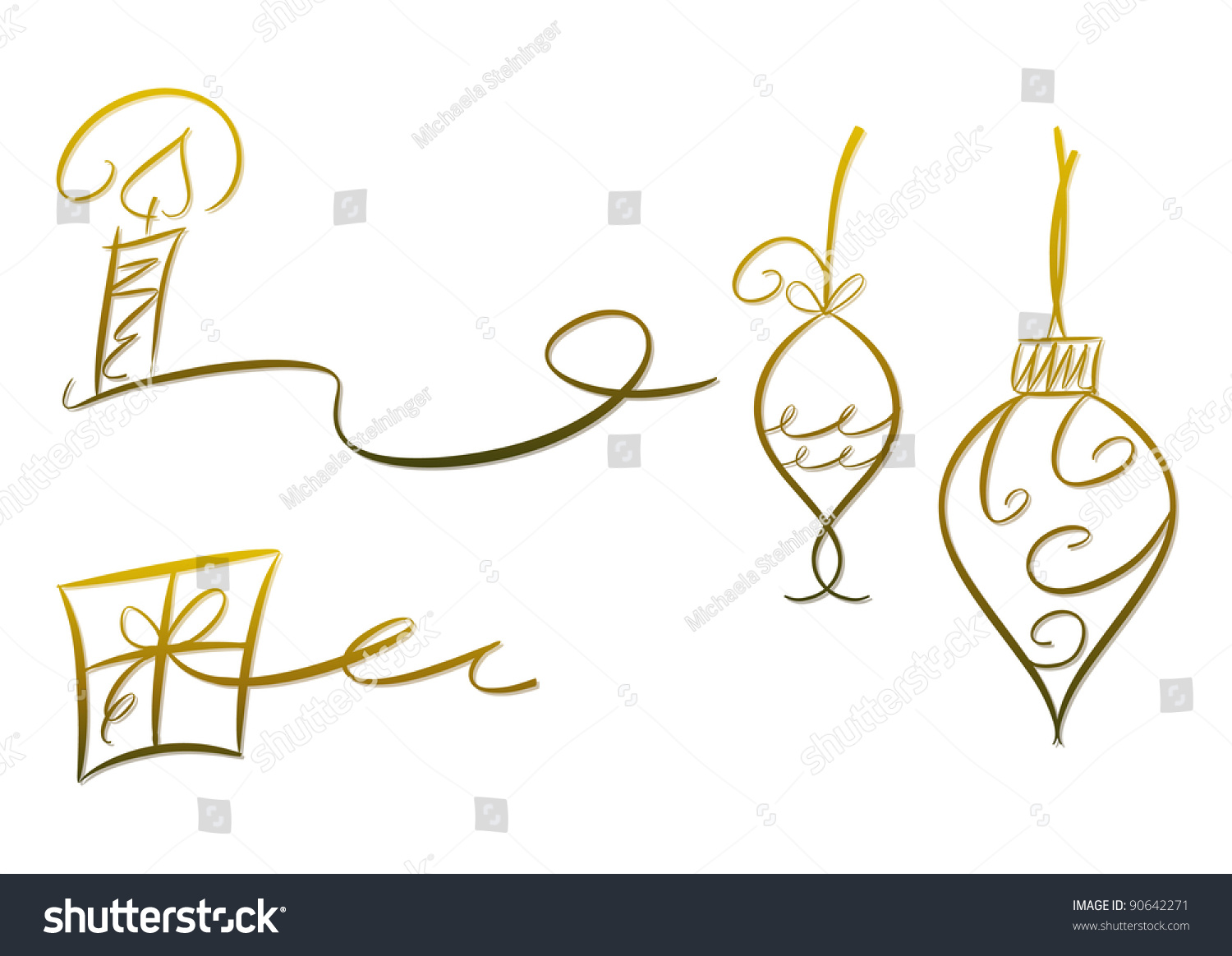 Clip-Art Set: Christmas Decoration (Gold) Including Candle ...