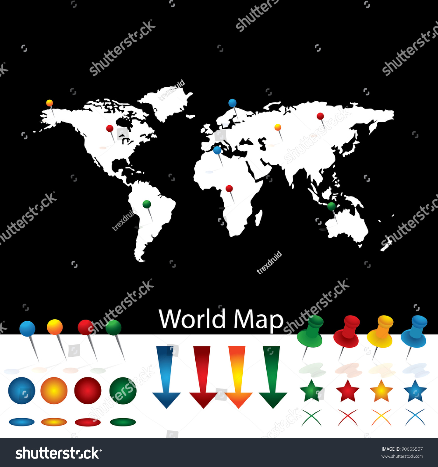 pinned world map