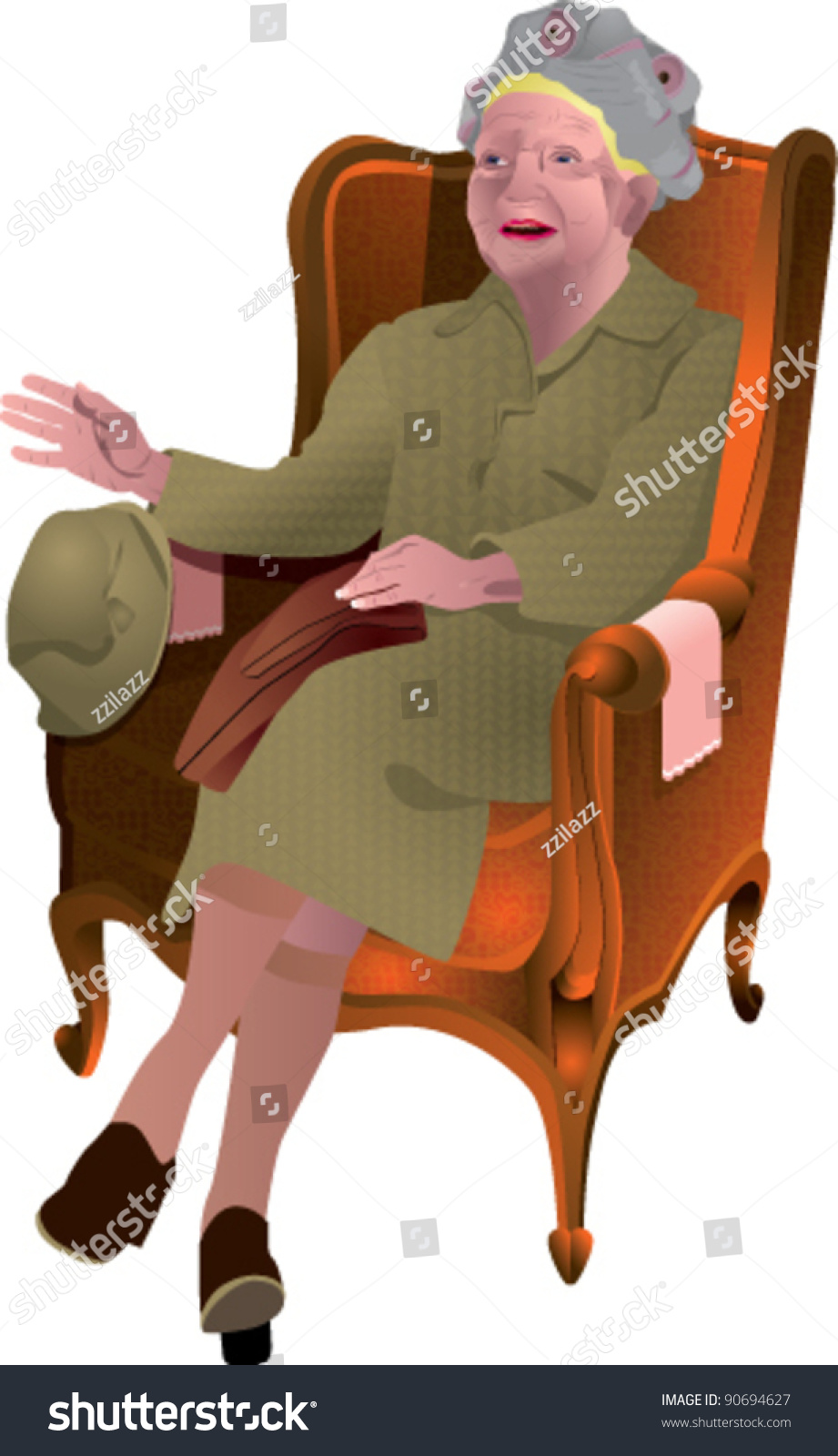 Old Lady Sitting Chair 1 Stock Vector (Royalty Free) 90694627 ...