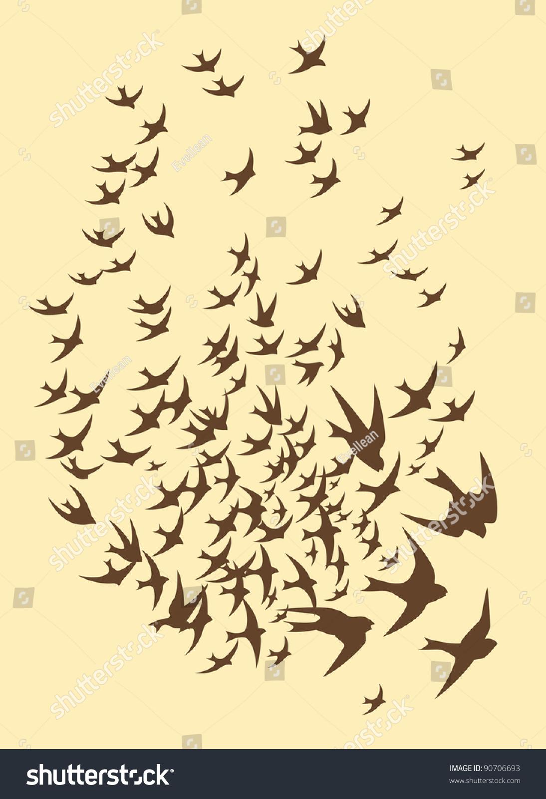 Stock Vector Silhouette Of Flock Birds