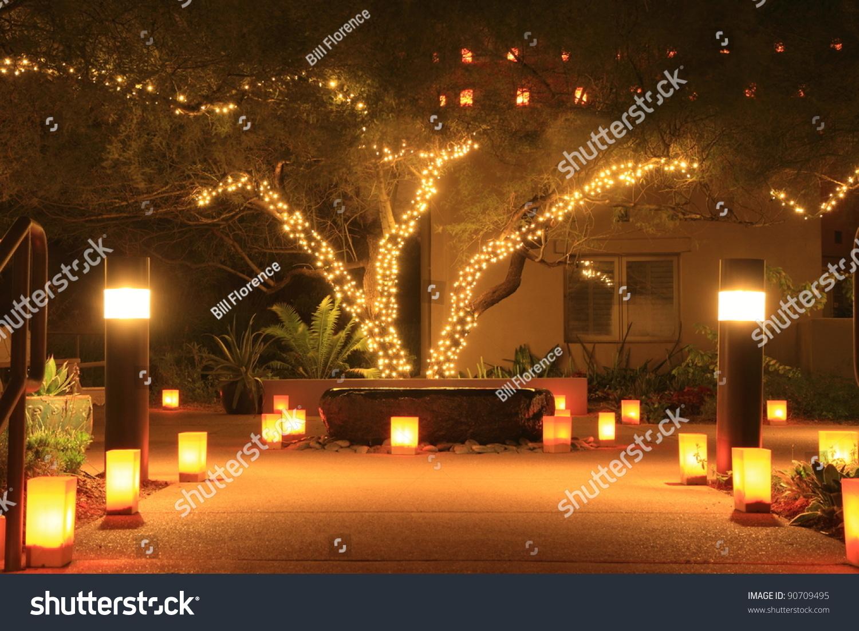 Christmas Lights Luminarias Lead Building Night Stock Photo (Edit ...