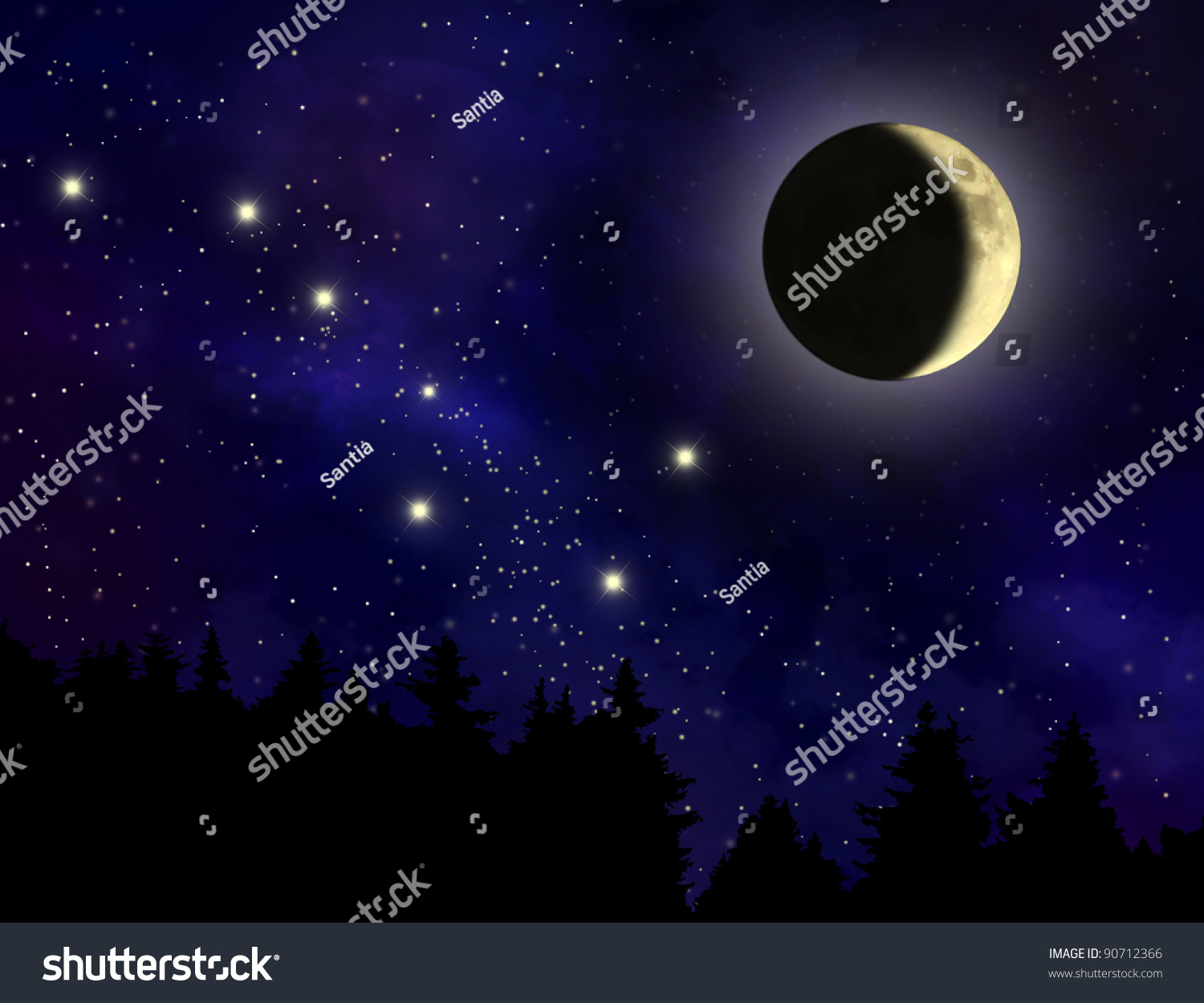Abstract Night Sky Waxing Crescent Moon Stock Illustration 90712366