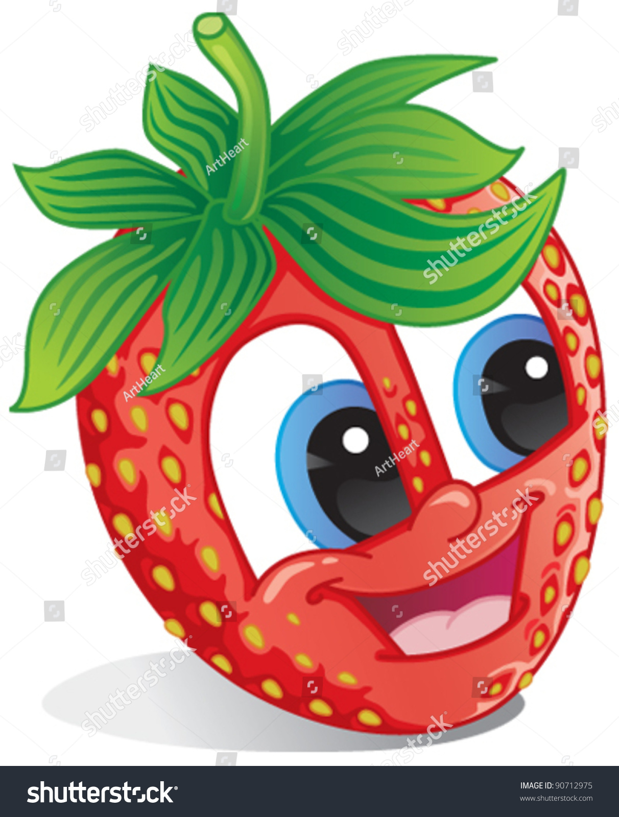 cute strawberry fruit character happy smile stock vector 90712975
