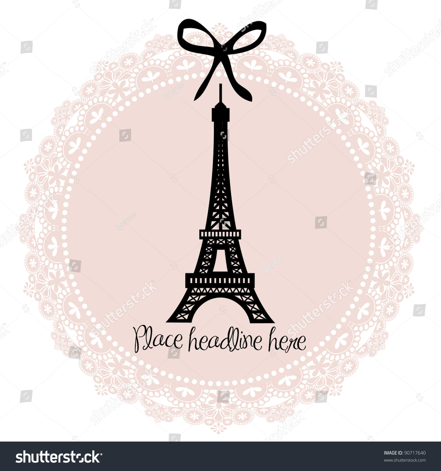 Royalty-free Eiffel tower border template vector… #90717640 Stock ...