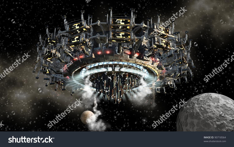 3d model futuristic alien space ship stock illustration 90718564