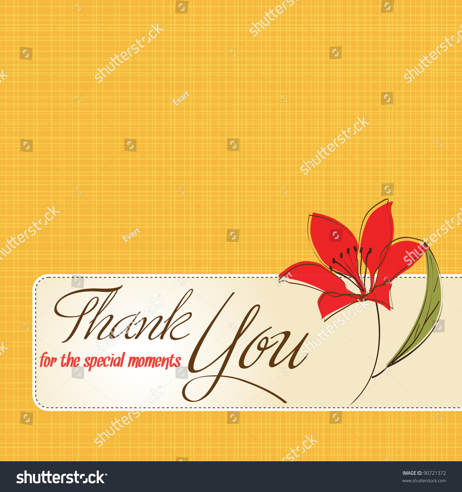 Thank you greeting card flower stock vector 90721372 shutterstock thank you greeting card with flower kristyandbryce Choice Image