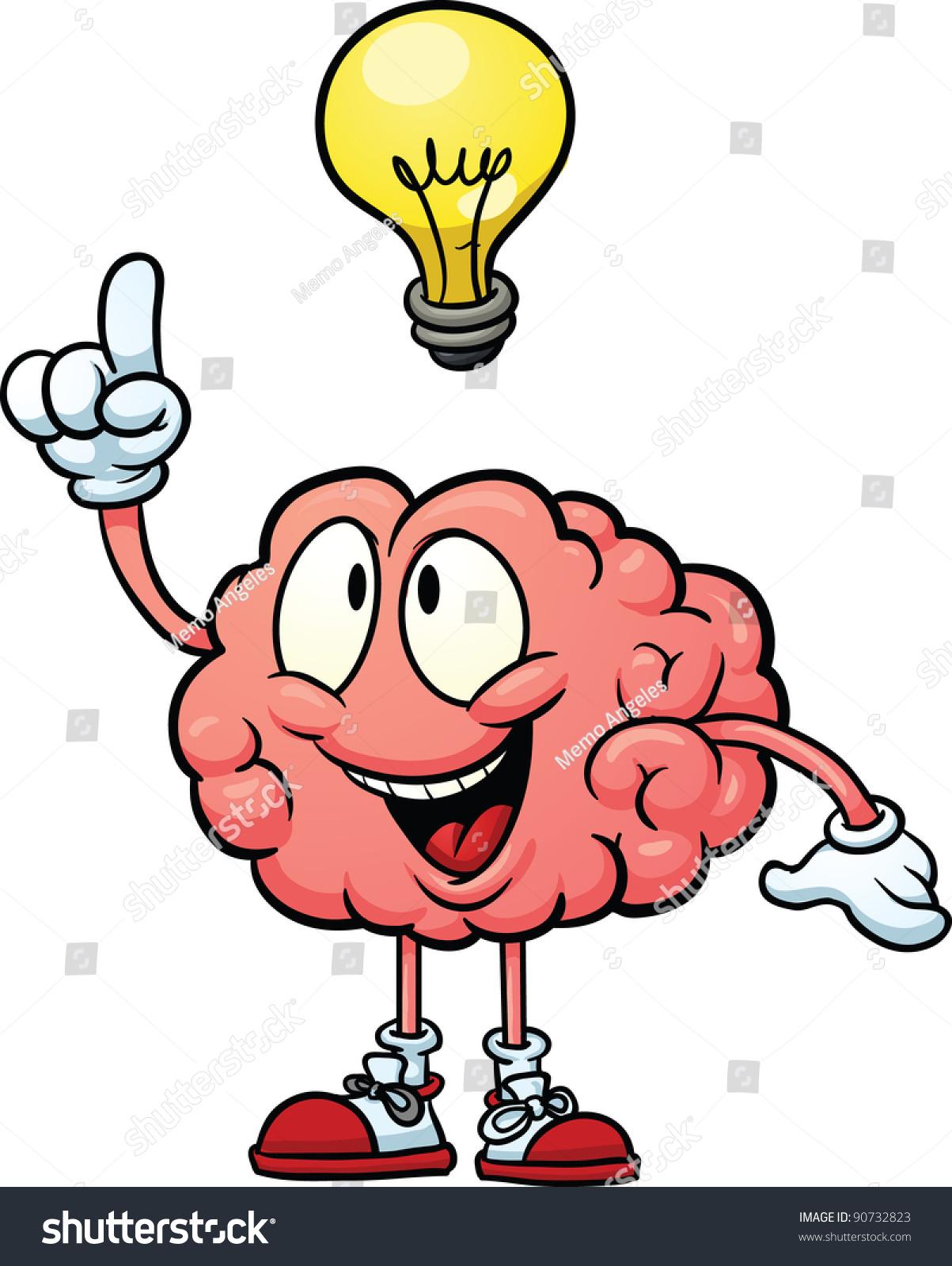 Cute Cartoon Brain With Having An Idea. Vector ...