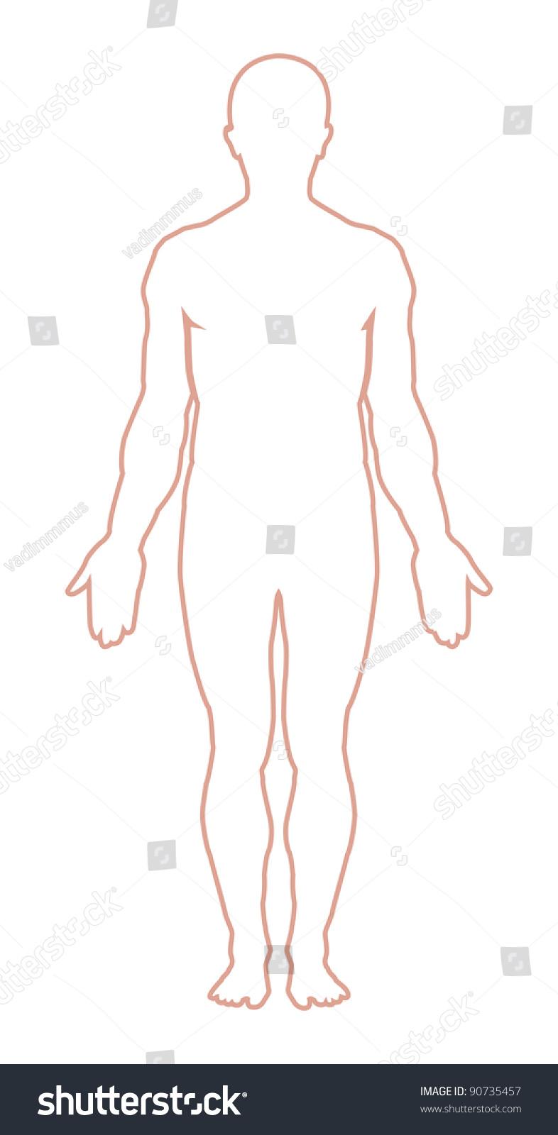 Male Body Outline Vector Illustration