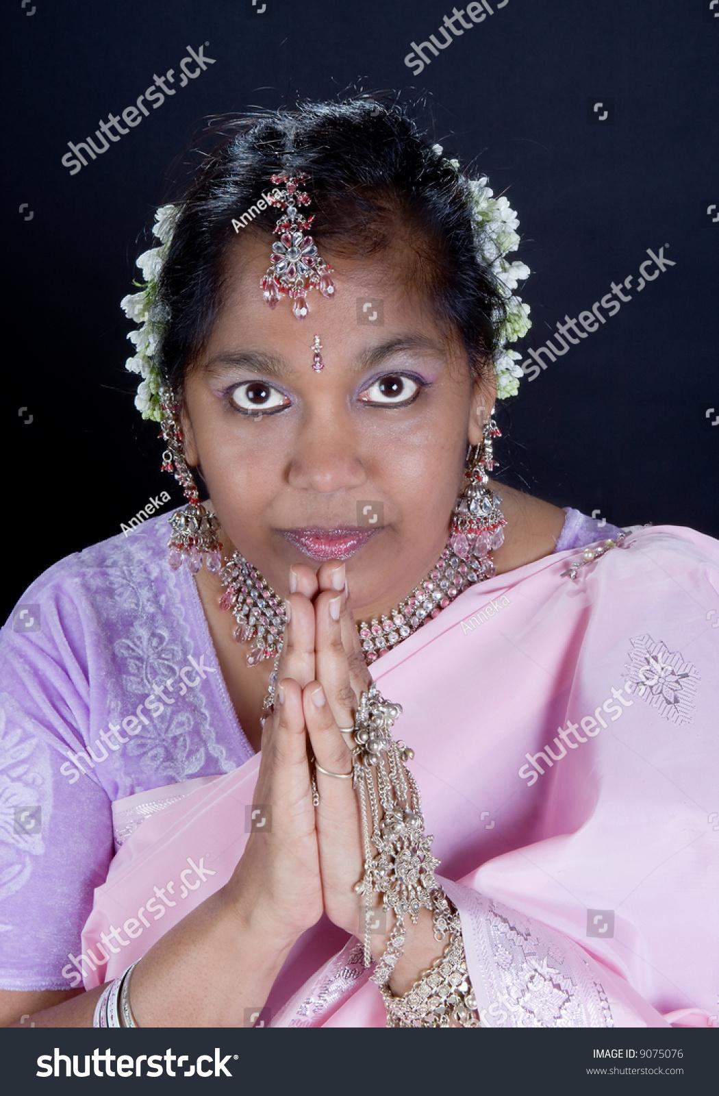 Indian Woman Saree Traditional Namaste Greeting Stock Photo Royalty