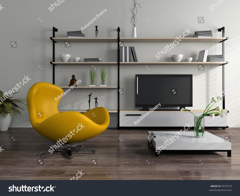 Modern Interior Yellow Armchair Stock Illustration 9075979