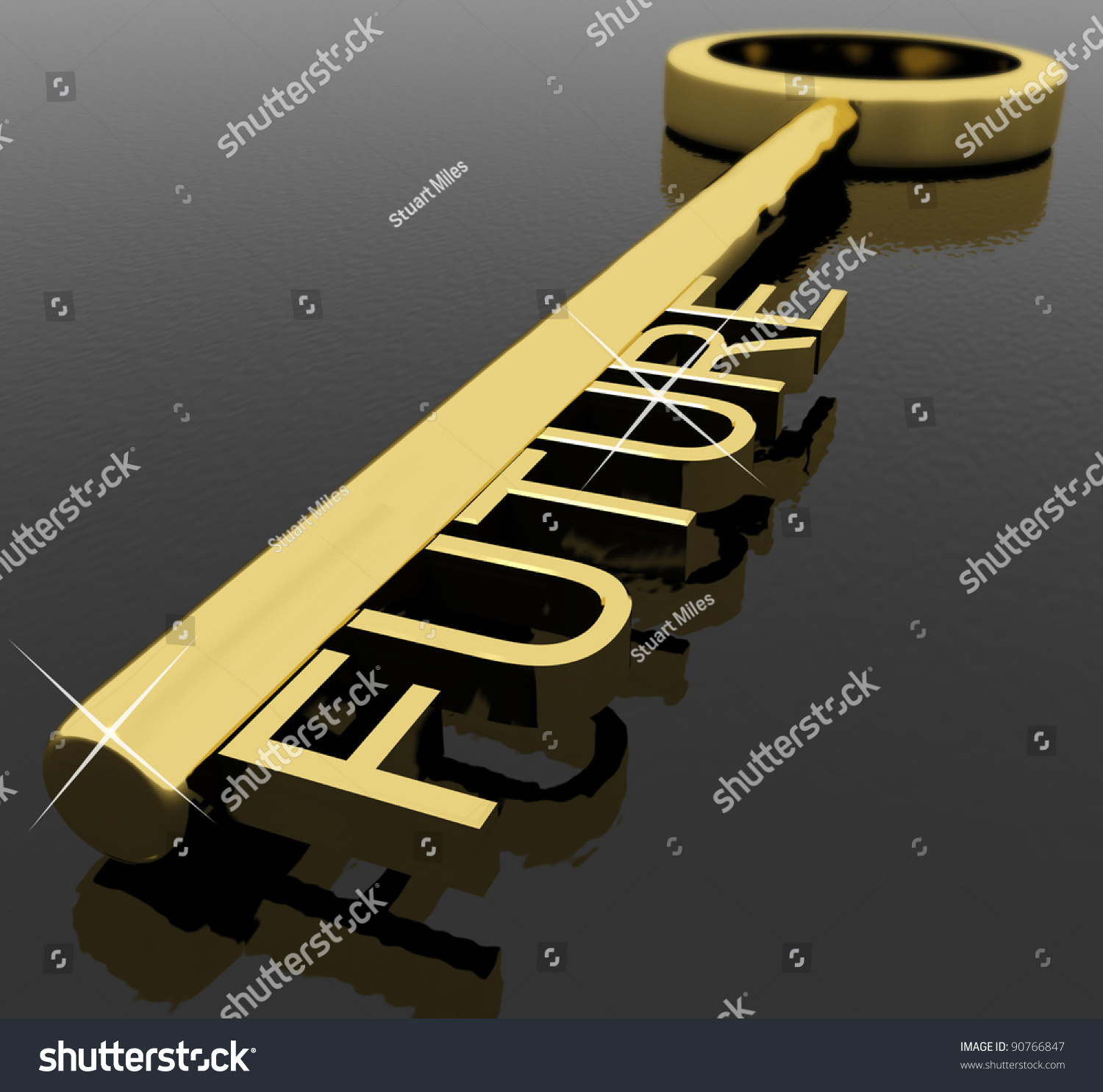 With golden key 3d rendering plan concept with golden key 3d rendering - Gold Key With Future Text As Symbol For Destiny Or Target