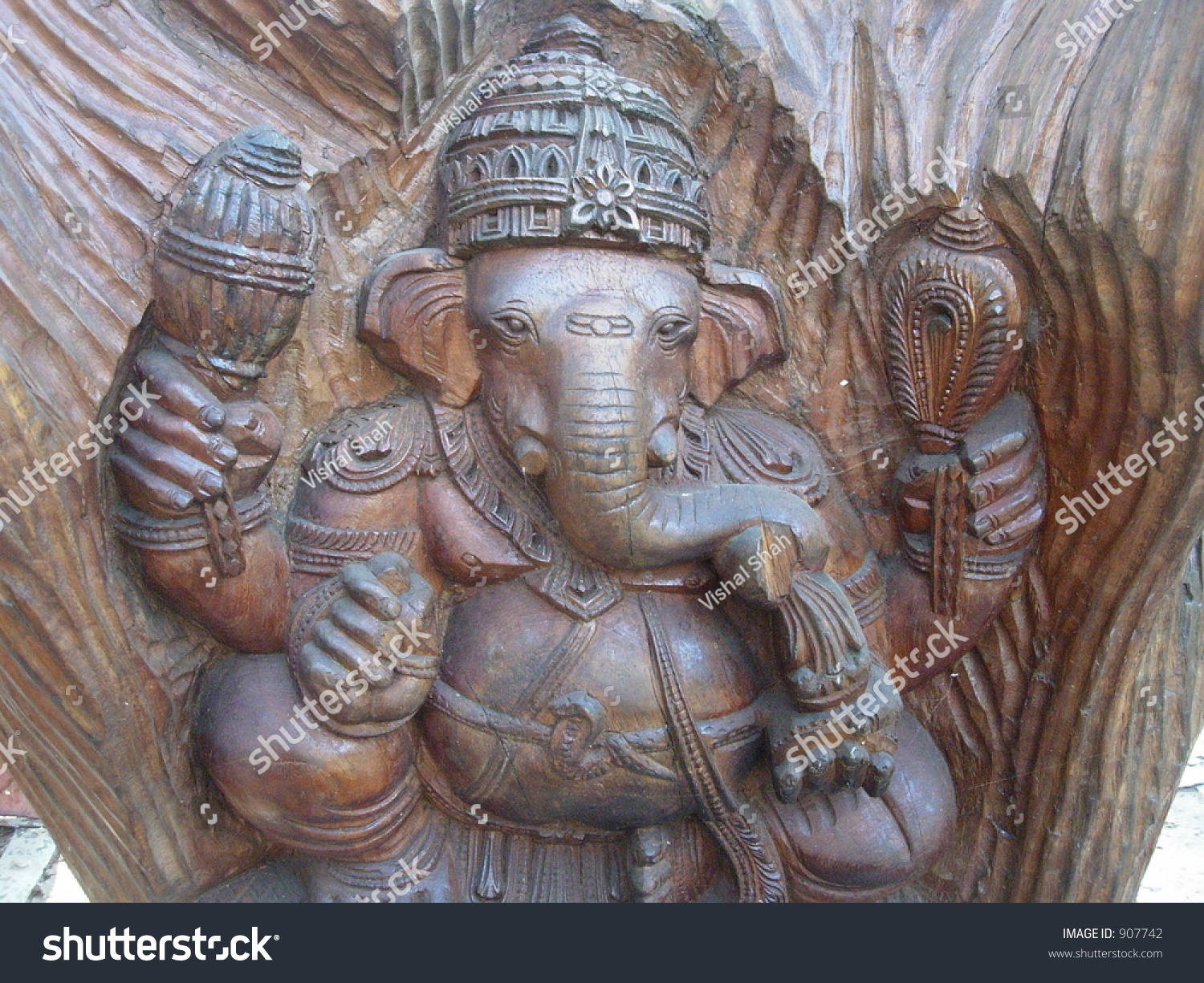 Lord ganesha carving om wood stock photo edit now 907742
