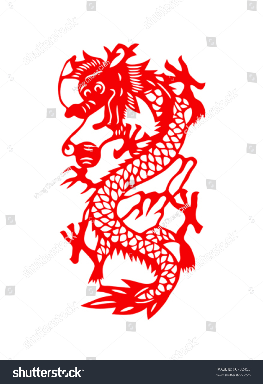 Dragon paper cut chinese new year stock vector 90782453 for Chinese paper cutting templates dragon