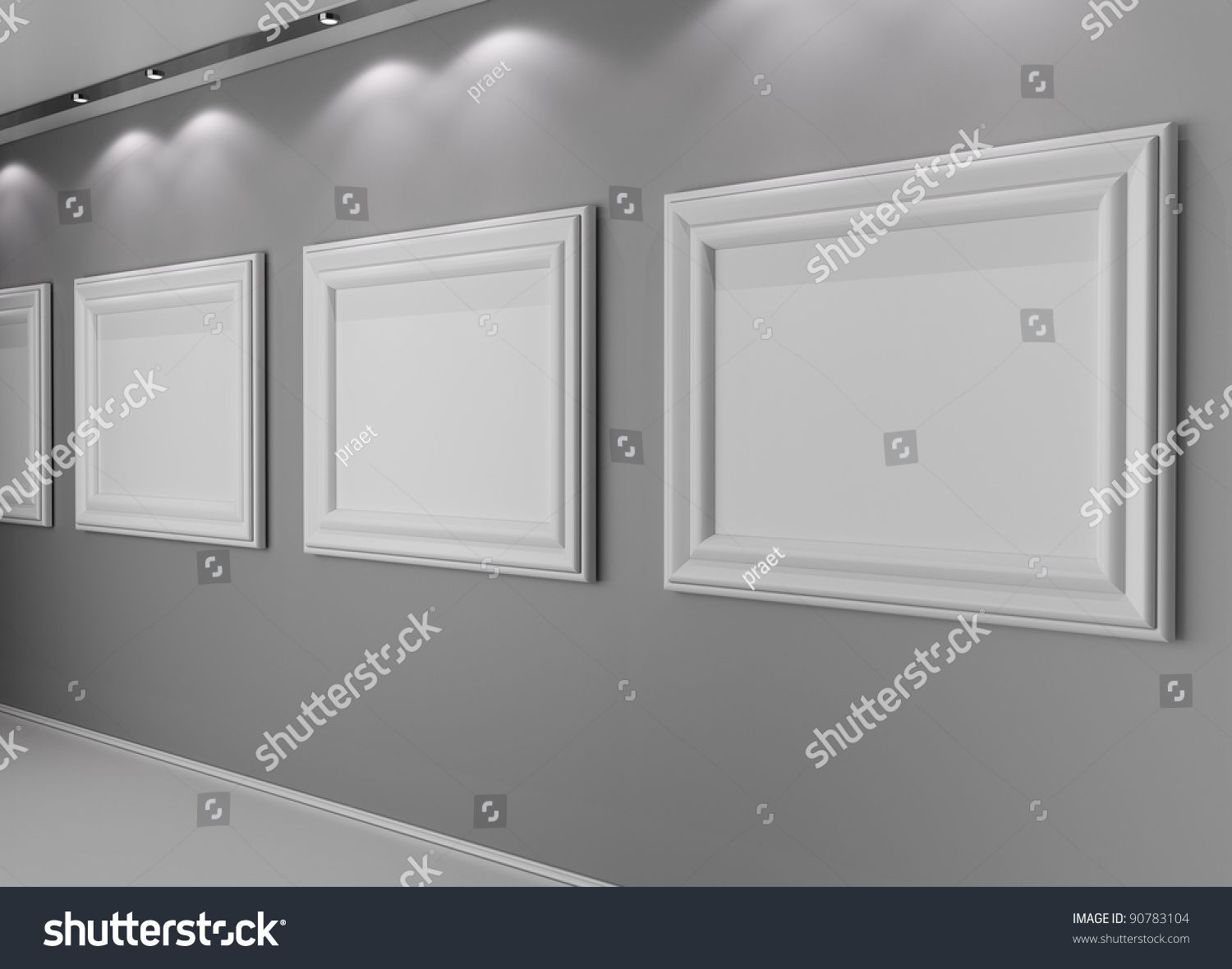 Wall Empty Highlighted Frames Stock Photo 90783104 - Shutterstock
