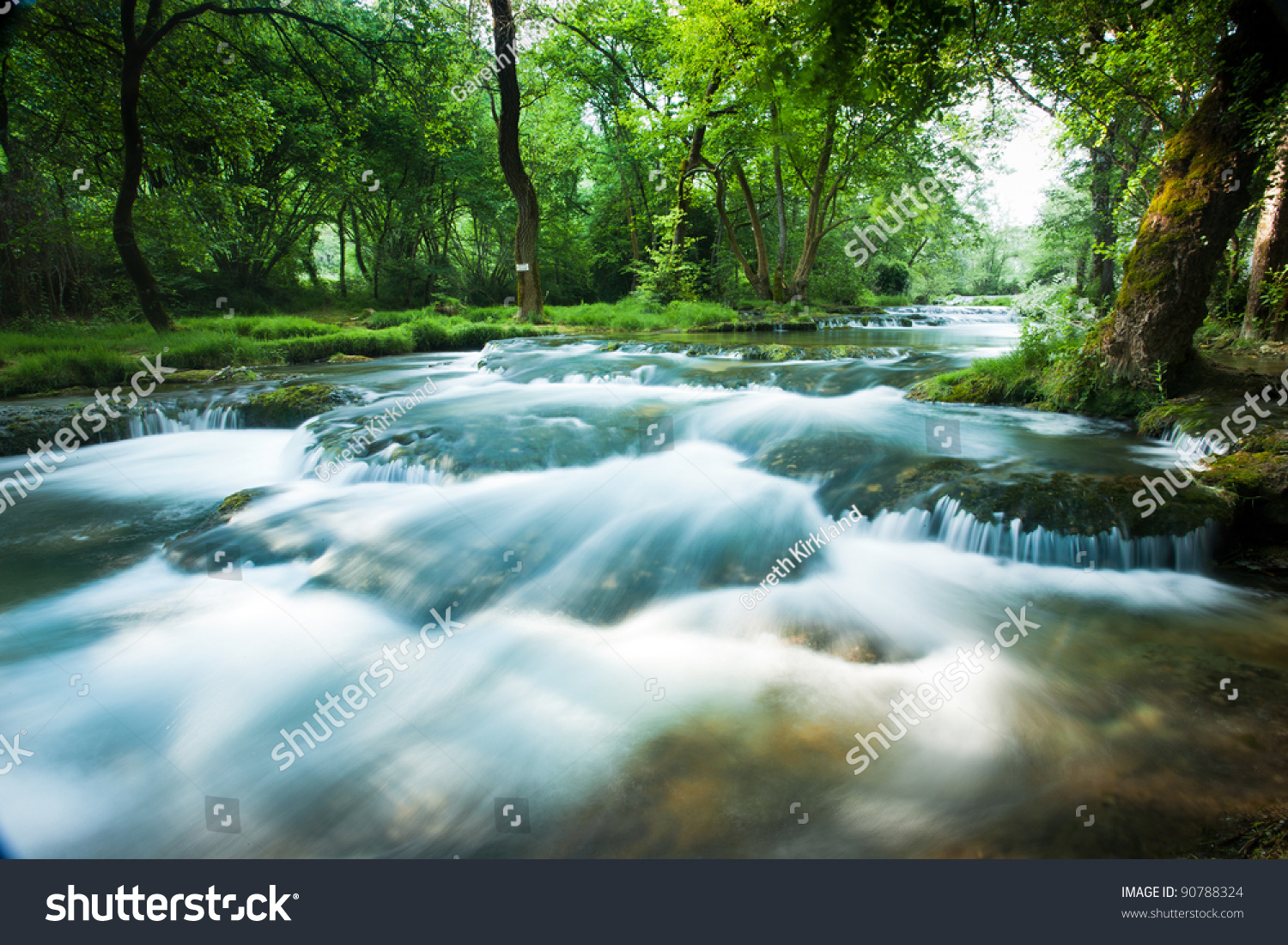 Fast Flowing Stream Le Ceou Castlenaud Stock Photo ...