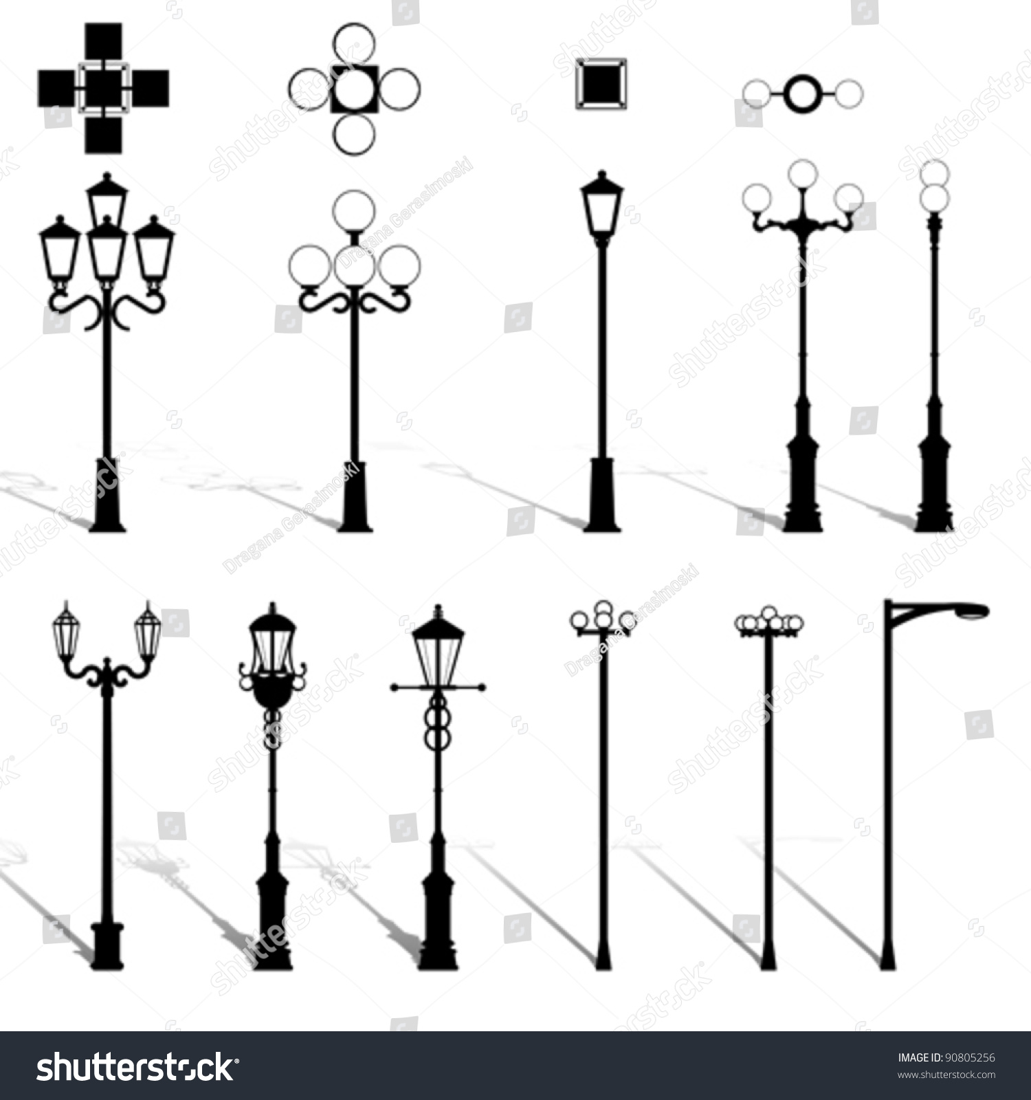 modern lightning outdoor lamp pole set stock vector  modern lightning outdoor lamp pole set architecture outdoor electric design equipment elements street light