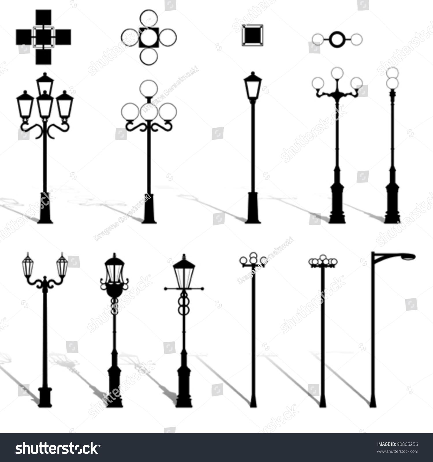 modern lightning outdoor lamp pole set stock vector 90805256 modern lightning outdoor lamp pole set architecture outdoor electric design equipment elements street light