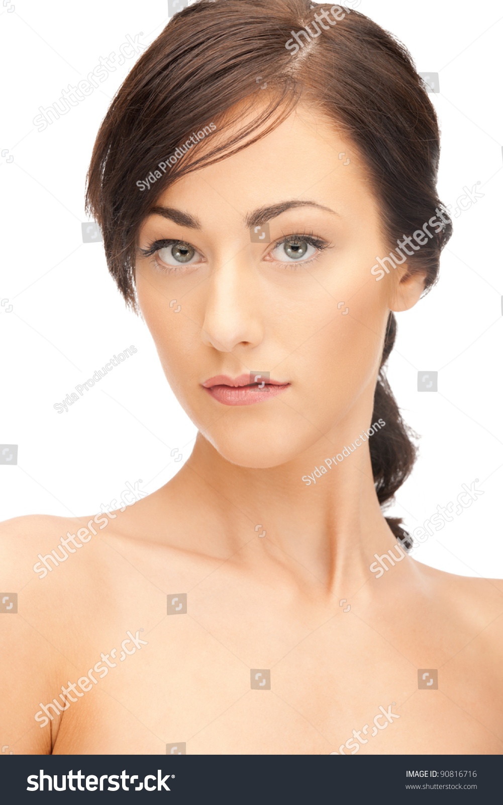 Bright closeup portrait picture beautiful woman stock for Foto beautiful