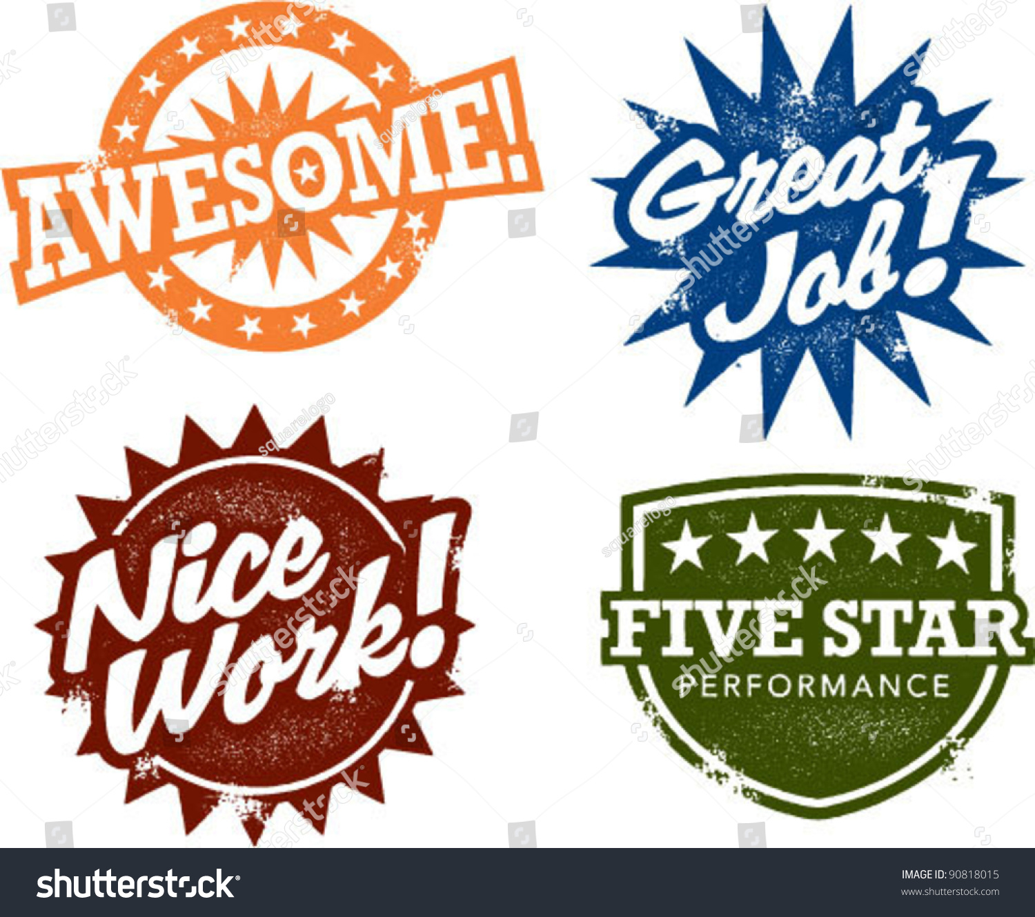Awesome Work Award Stamps Stock Vector 90818015