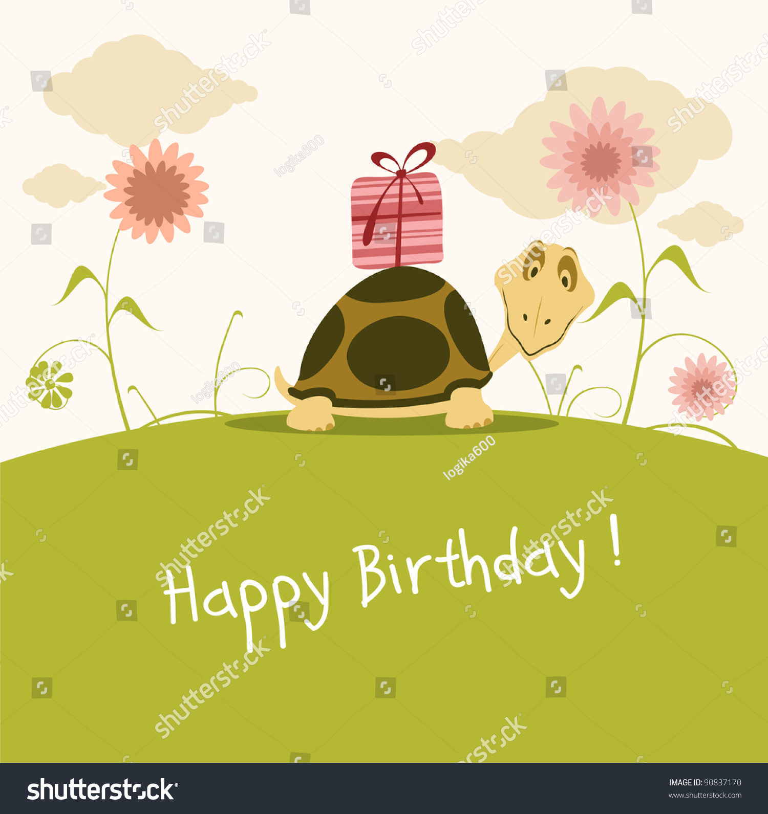 Happy Birthday Card Cute Turtle Stock Vector 90837170