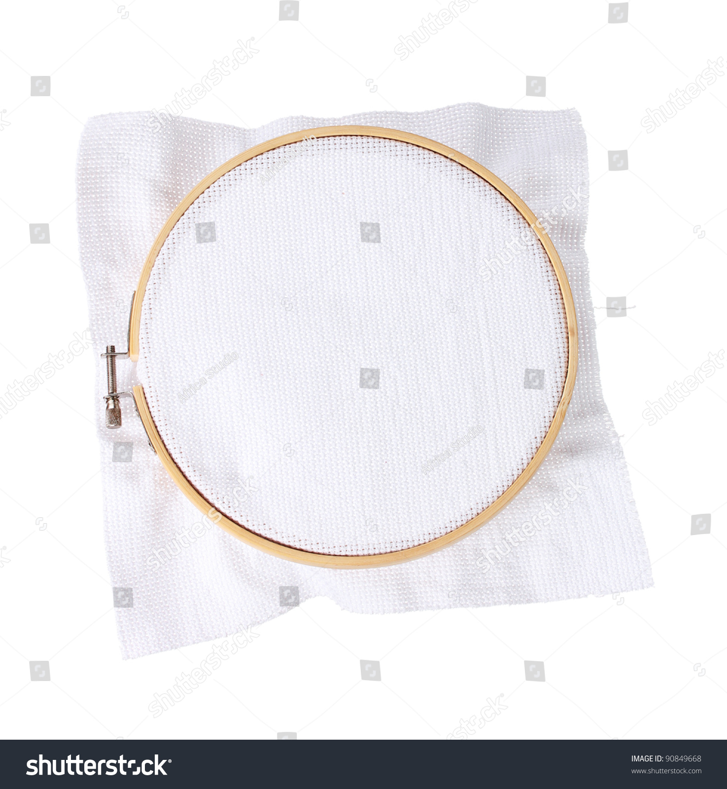 The embroidery hoop with canvas isolated on white stock