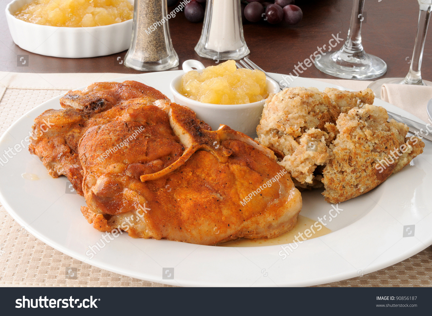 Baked Pork Chops With Herb Stuffing Stockfoto 90856187 ...