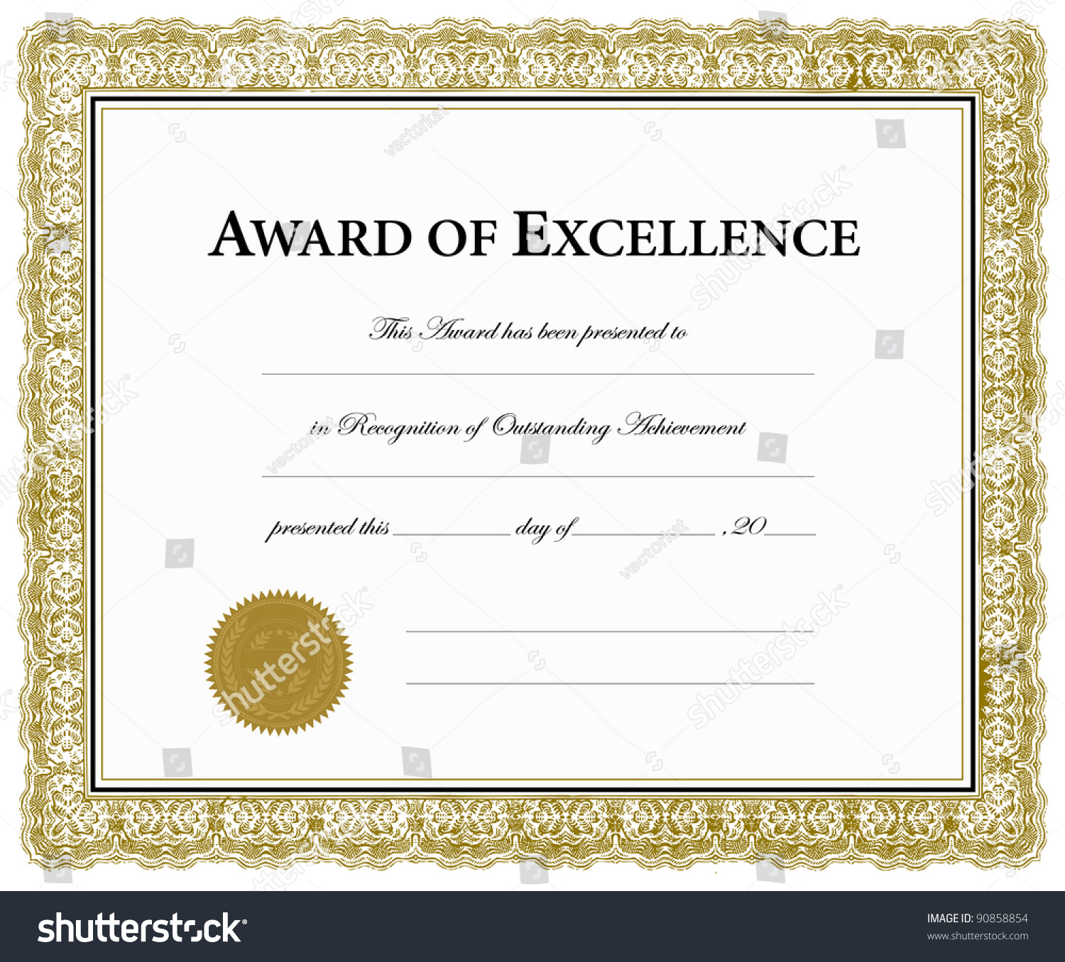 vector award of excellence certificate pieces are