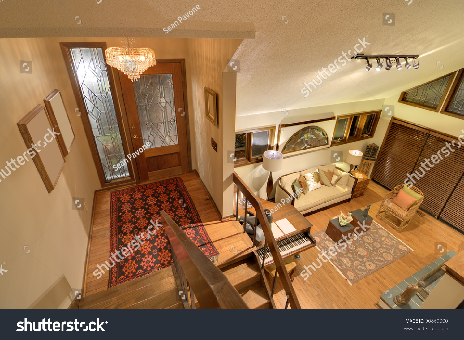 Split Level House Front Door Interior Stock Photo 90869000