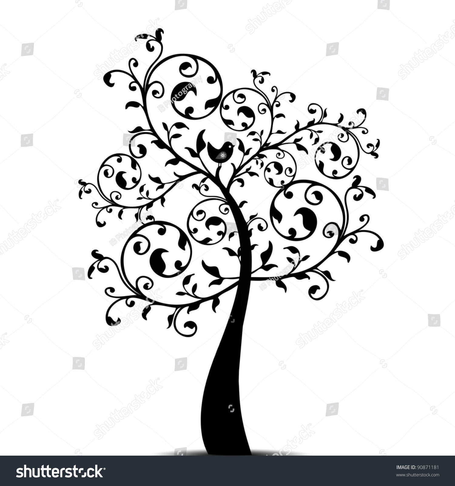 Beautiful art tree isolated on white stock vector 90871181 for Beautiful drawings of trees